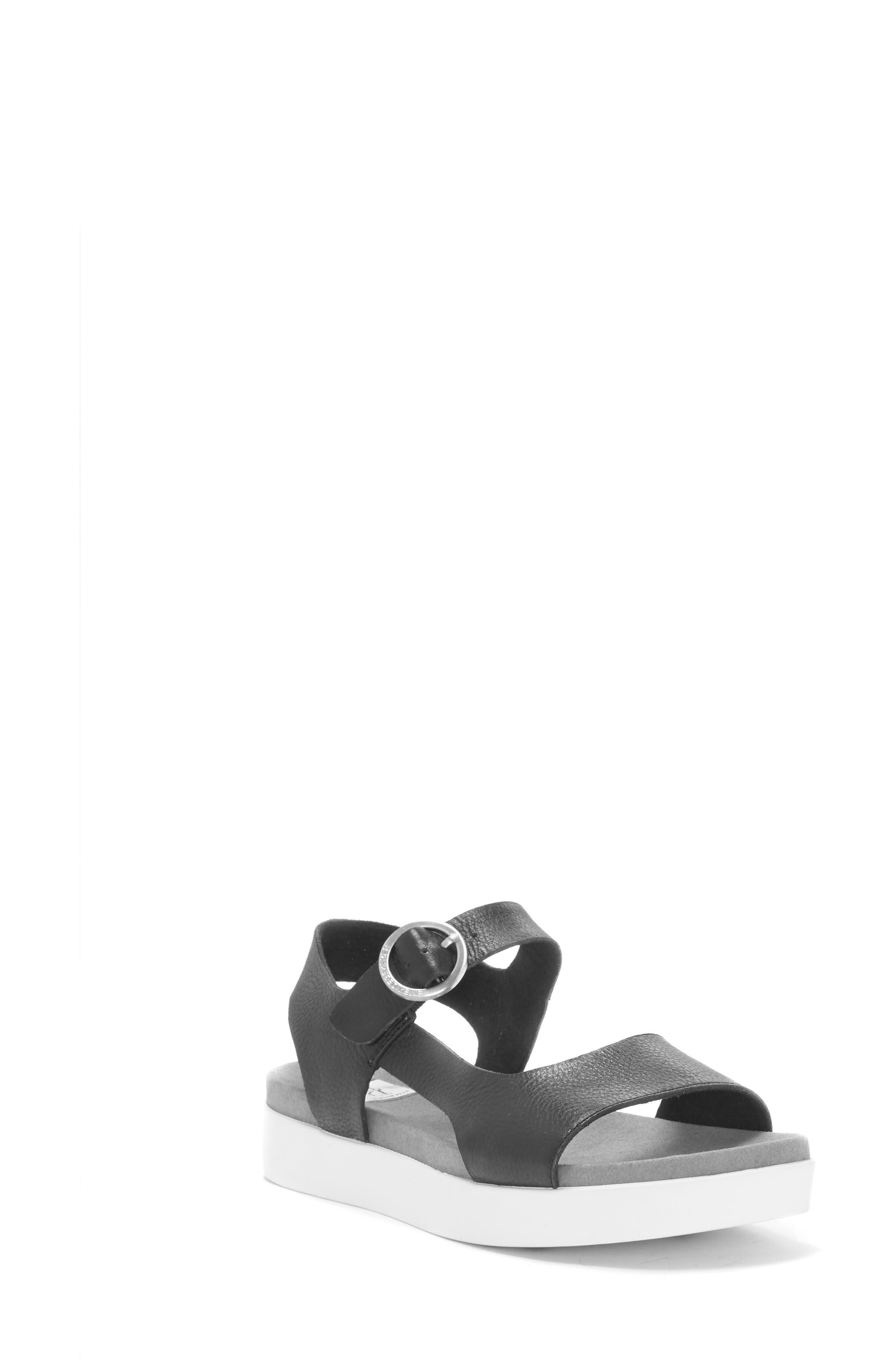 Caspin Sandal,                         Main,                         color, Black Leather