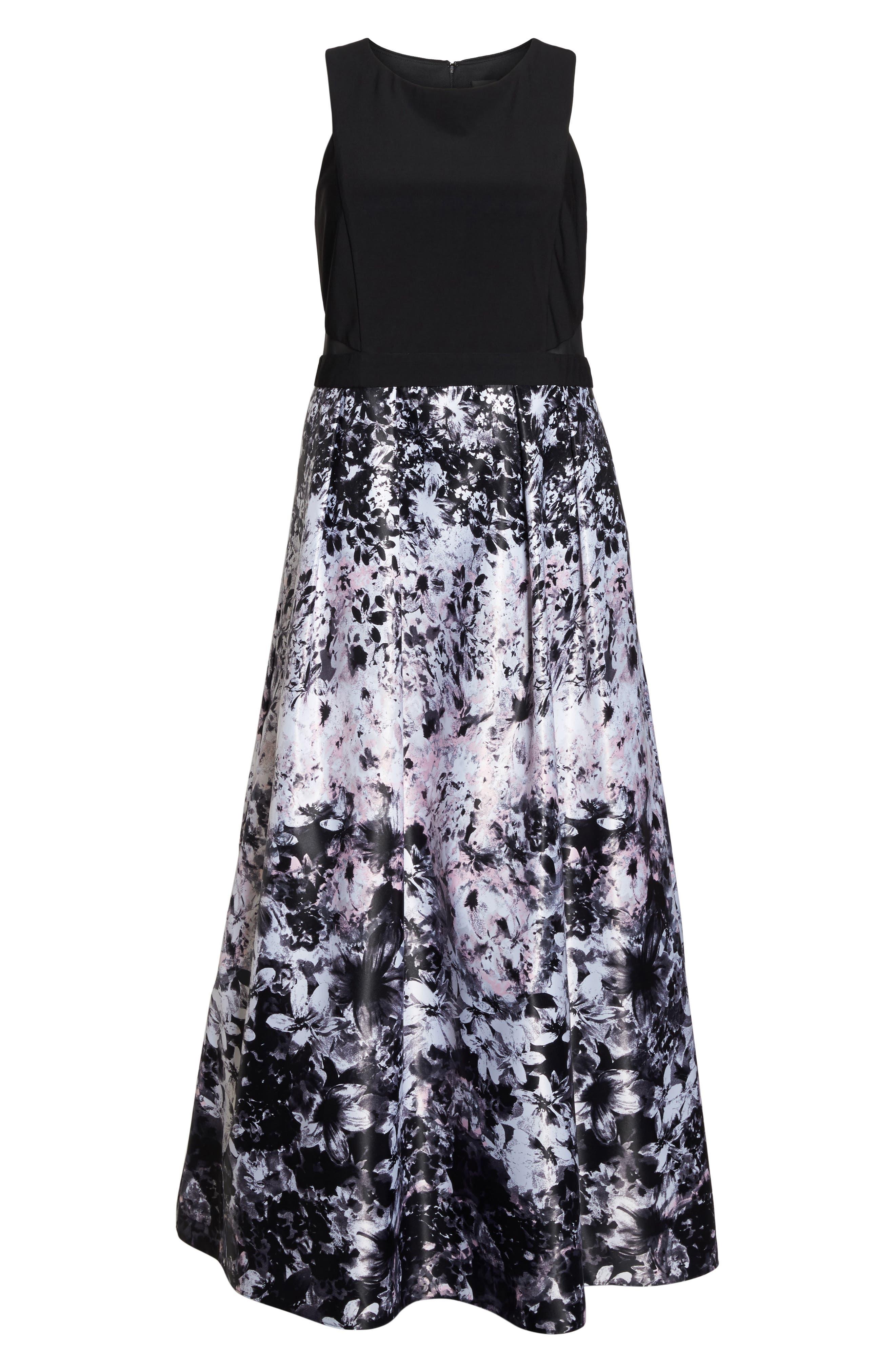 Alternate Image 6  - Xscape Floral Print Ballgown (Plus Size)