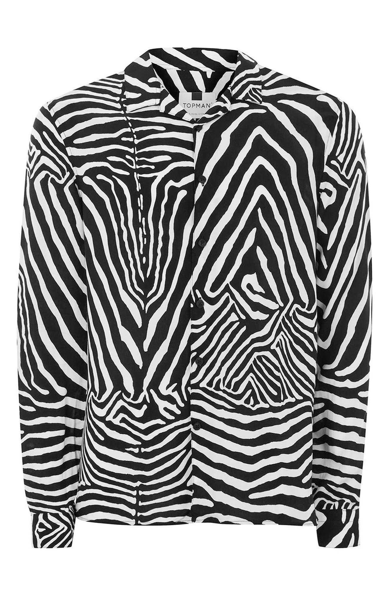 Classic Fit Zebra Print Revere Shirt,                             Alternate thumbnail 4, color,                             Black Multi