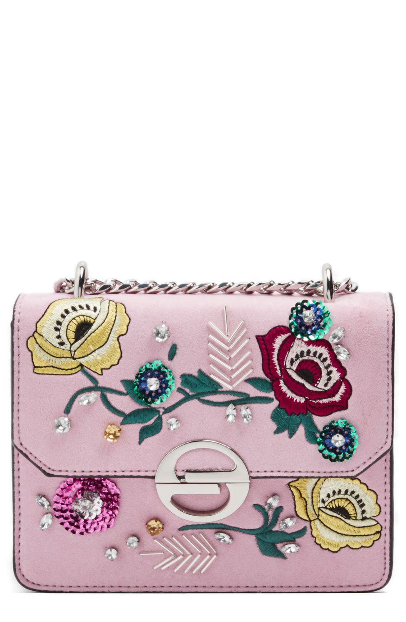Embellished Faux Suede Crossbody Bag,                             Alternate thumbnail 4, color,                             Pink Multi