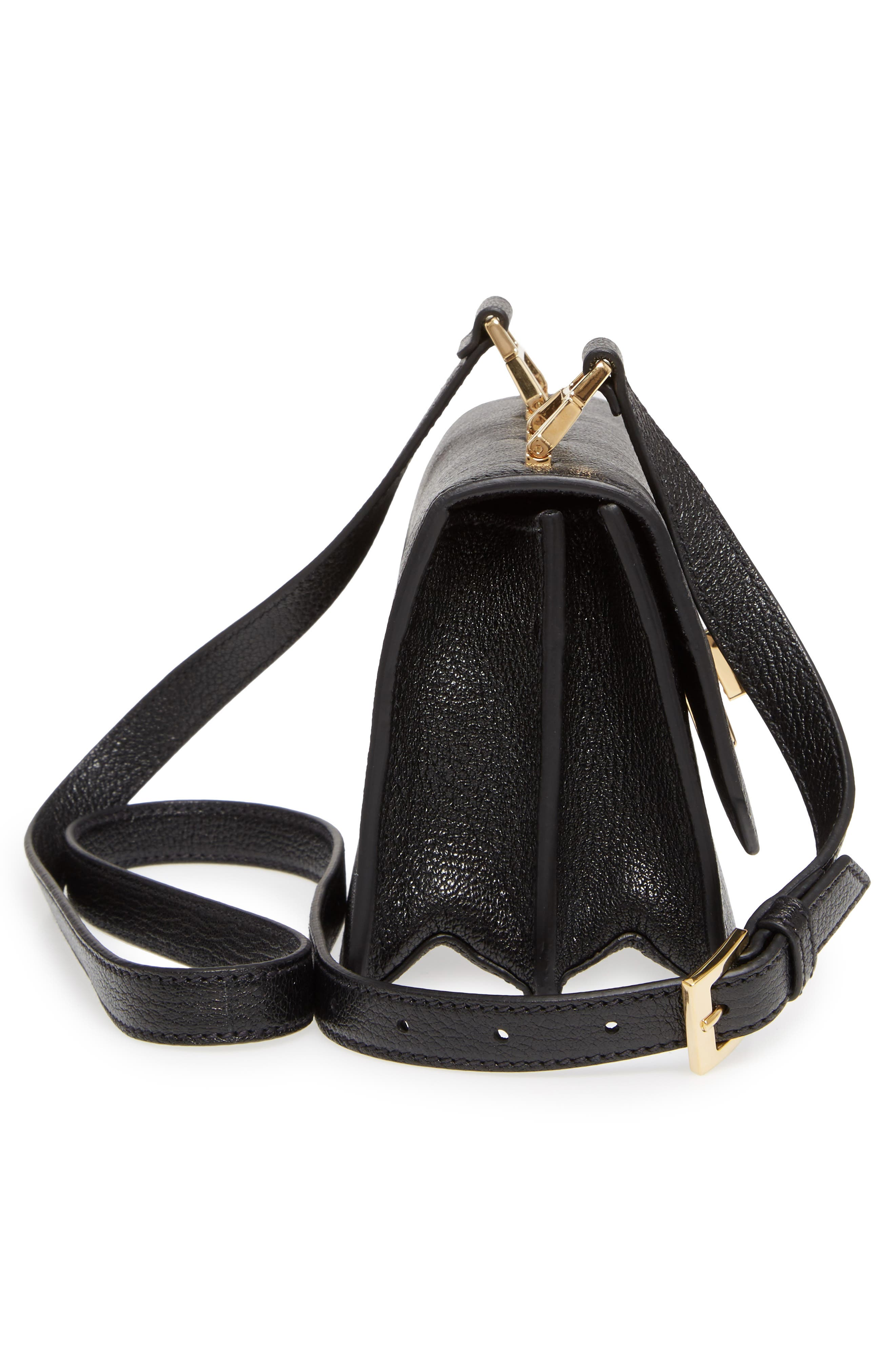 Madras Leather Crossbody Bag,                             Alternate thumbnail 4, color,                             Nero