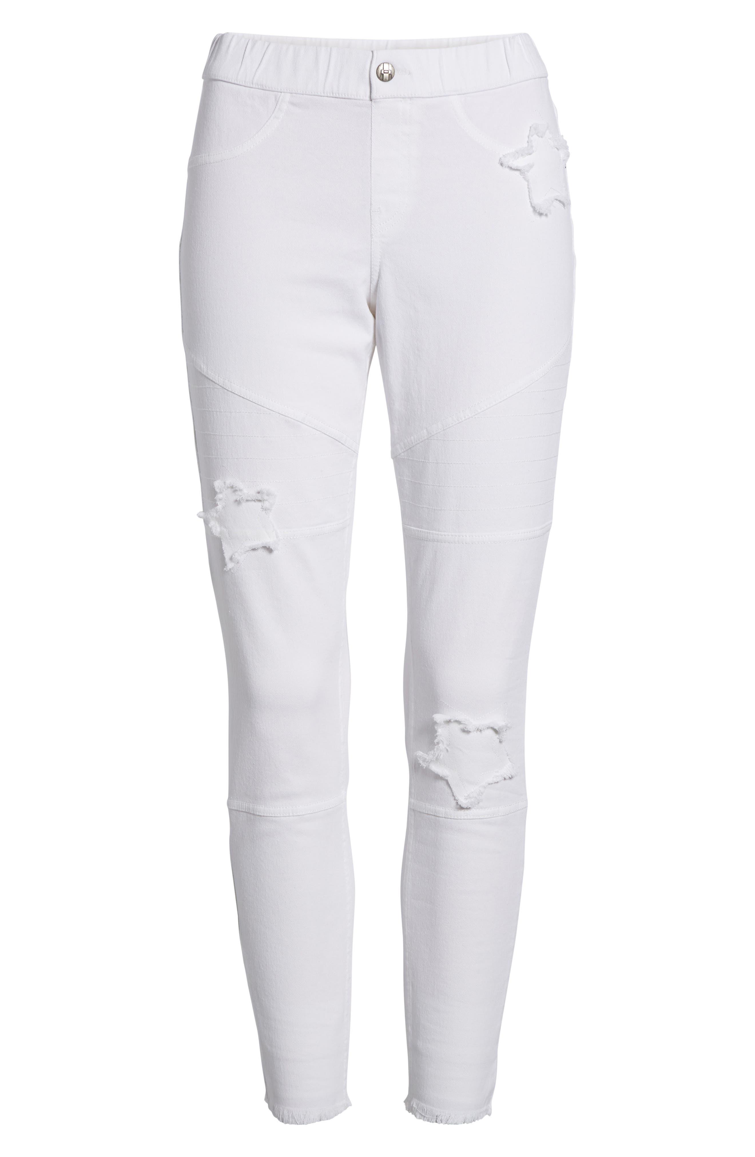 Star Patch Denim Moto Skimmer Leggings,                             Alternate thumbnail 6, color,                             White