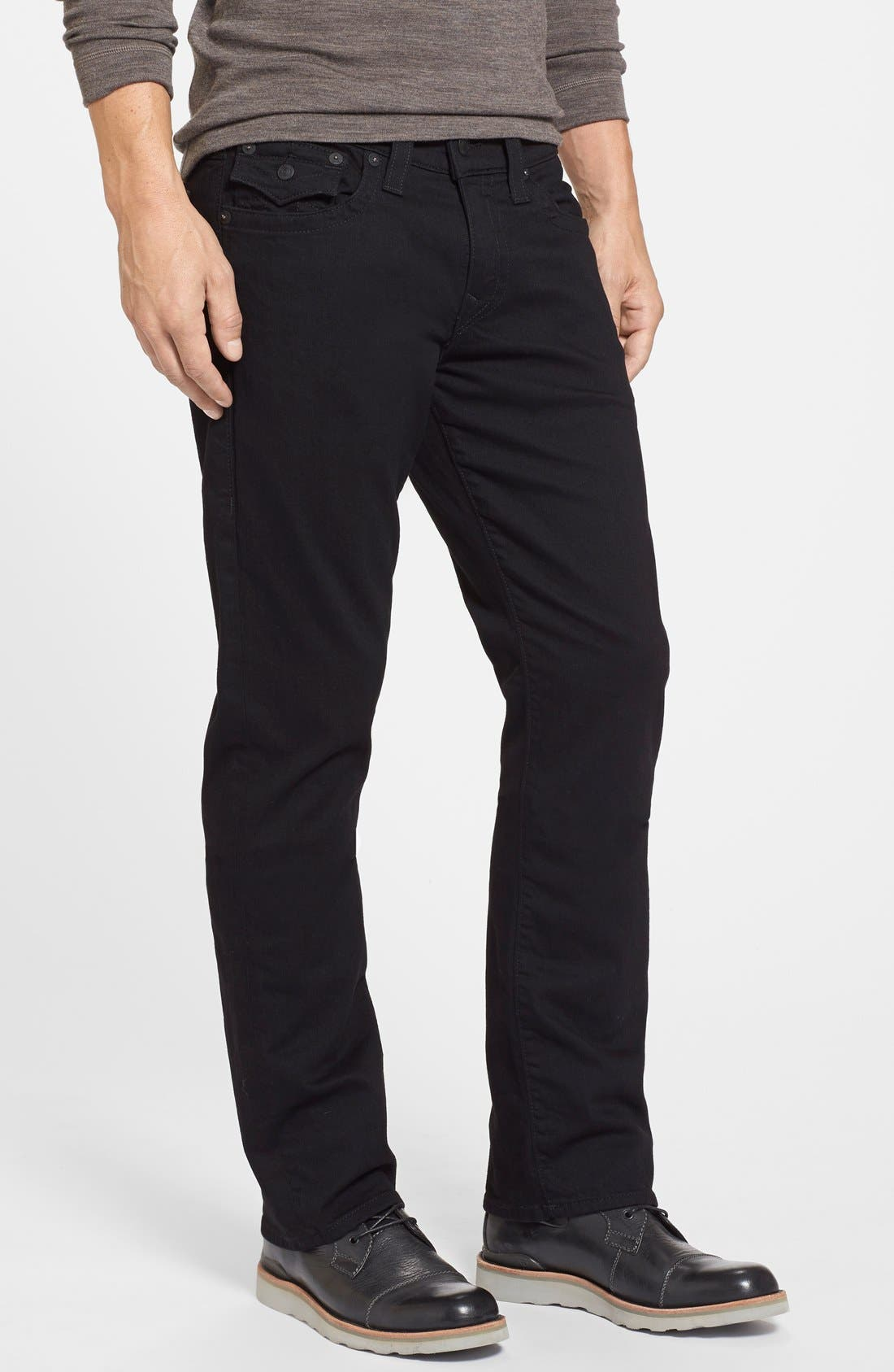 Alternate Image 3  - True Religion Brand Jeans Ricky Relaxed Fit Jeans (Midnight Black)