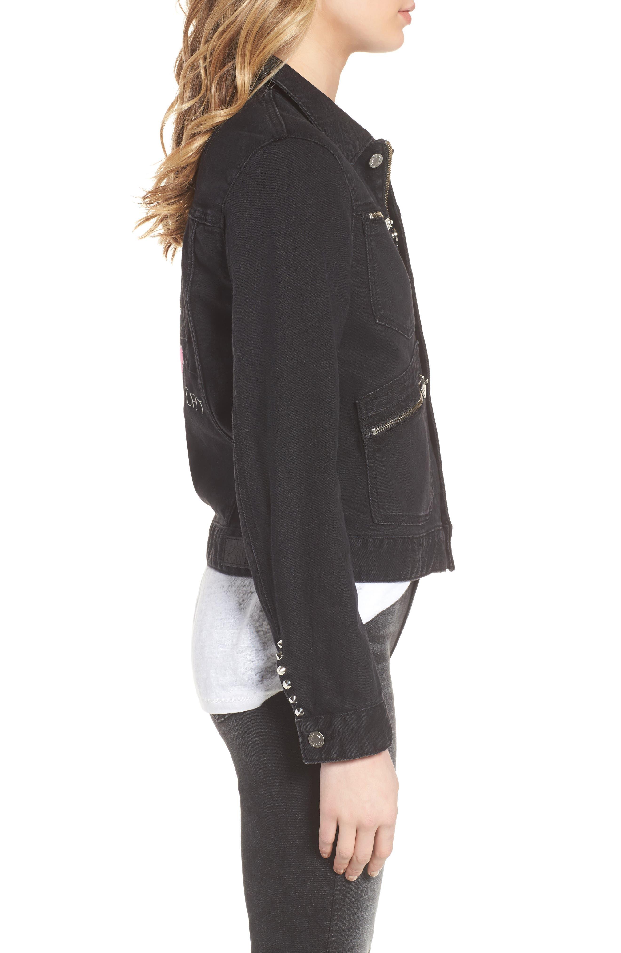 Kioko Cat Jacket,                             Alternate thumbnail 3, color,                             Black