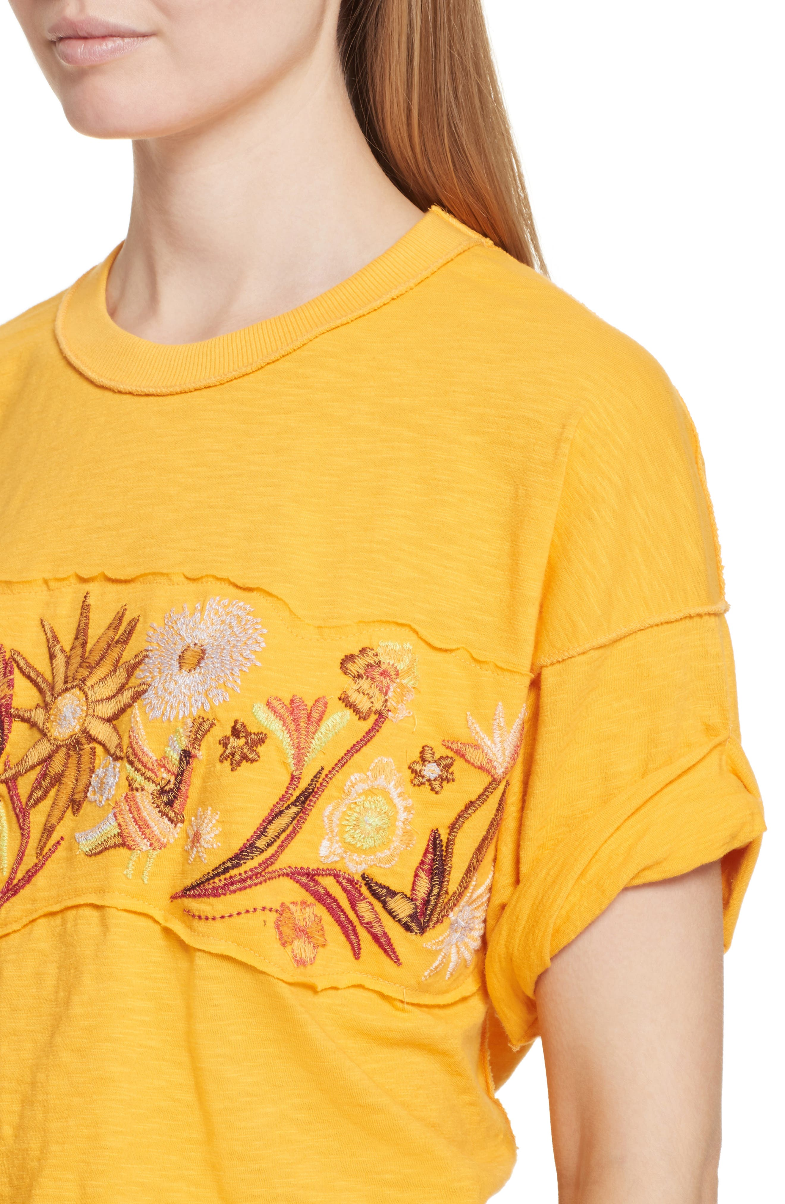 Garden Time Embroidered Tee,                             Alternate thumbnail 4, color,                             Yellow