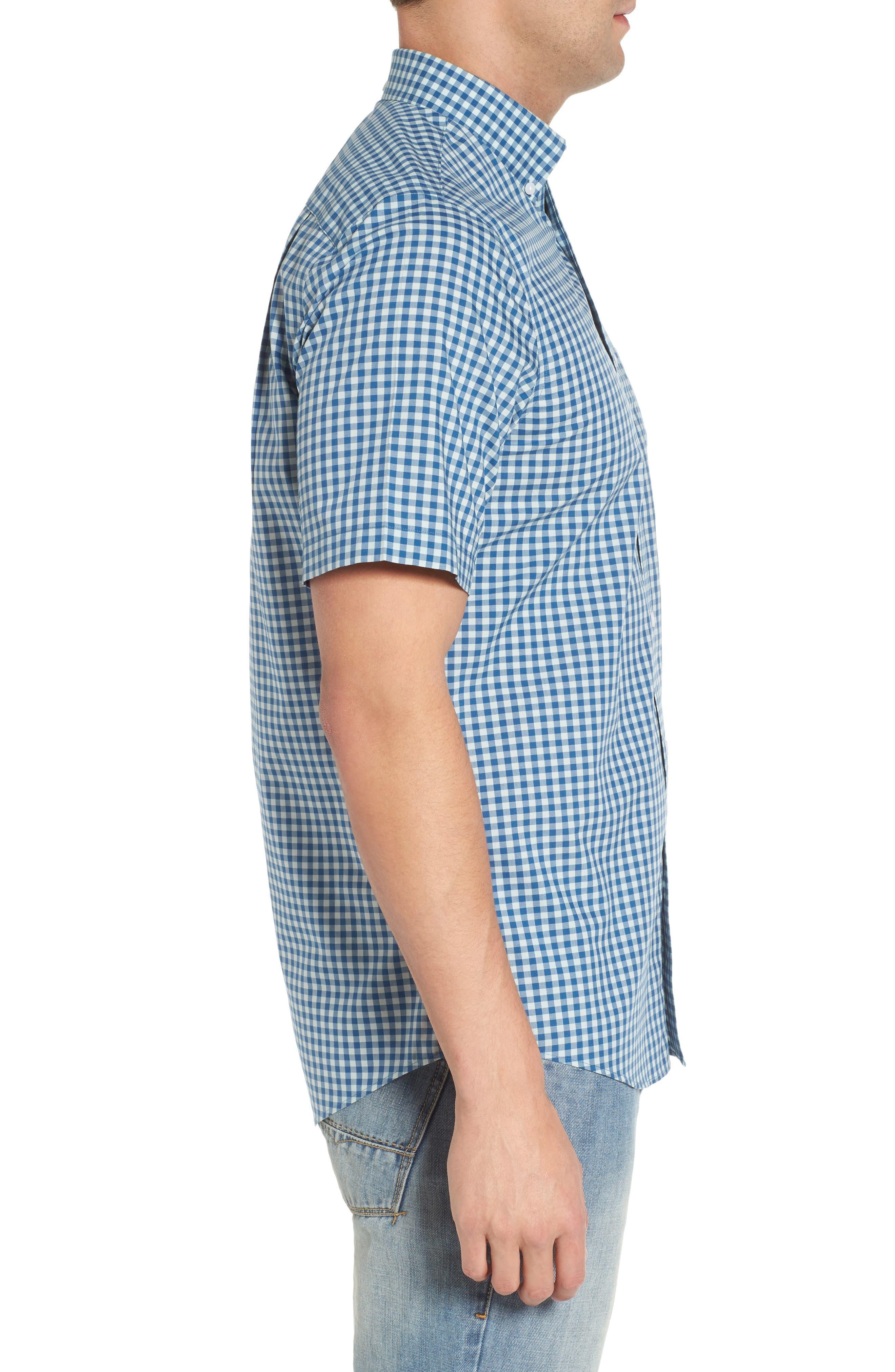 Regular Fit Gingham Sport Shirt,                             Alternate thumbnail 4, color,                             Teal Surf Blue Gingham
