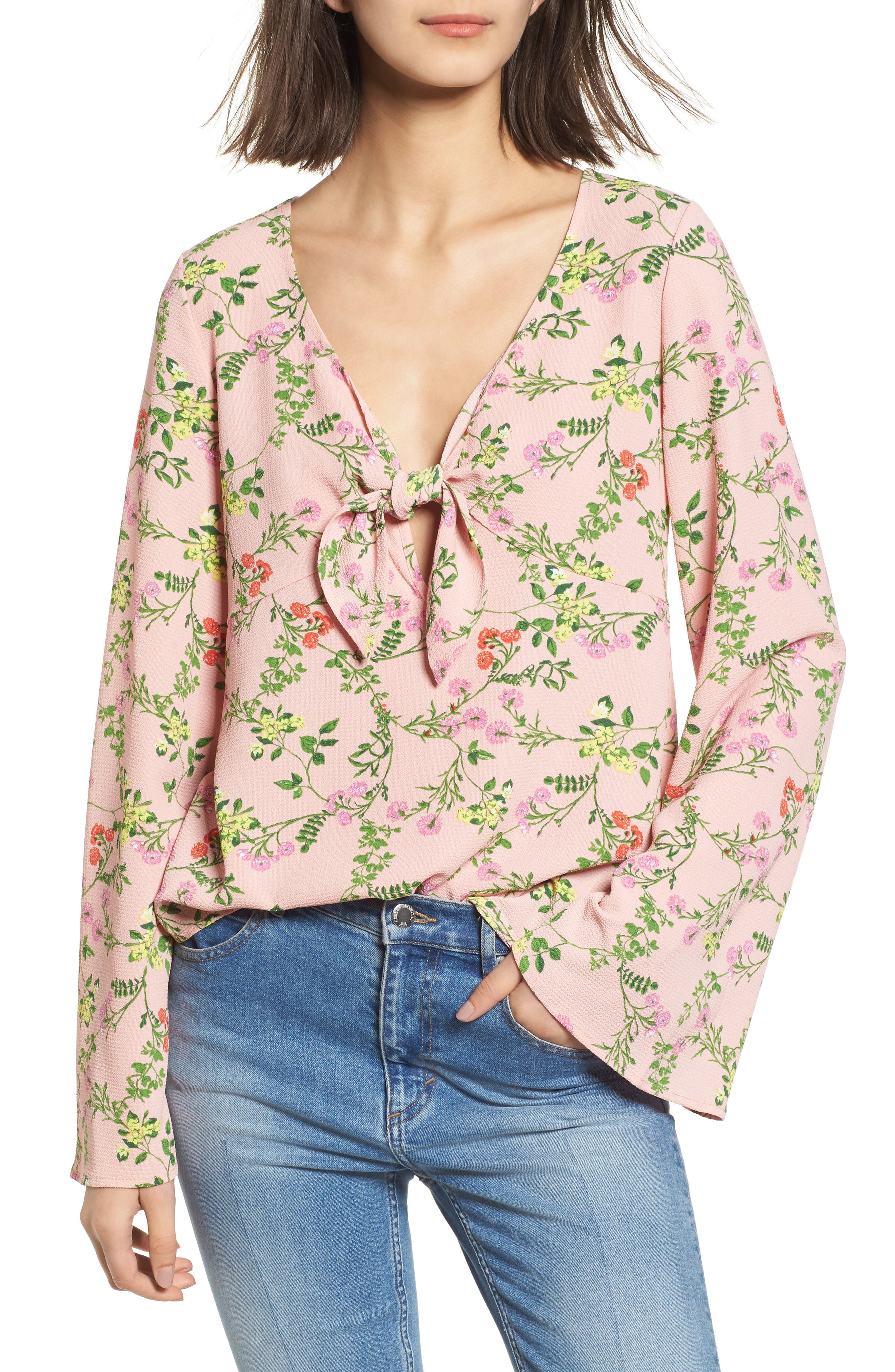 Tie Front Bell Sleeve Top,                         Main,                         color, Pink Floral