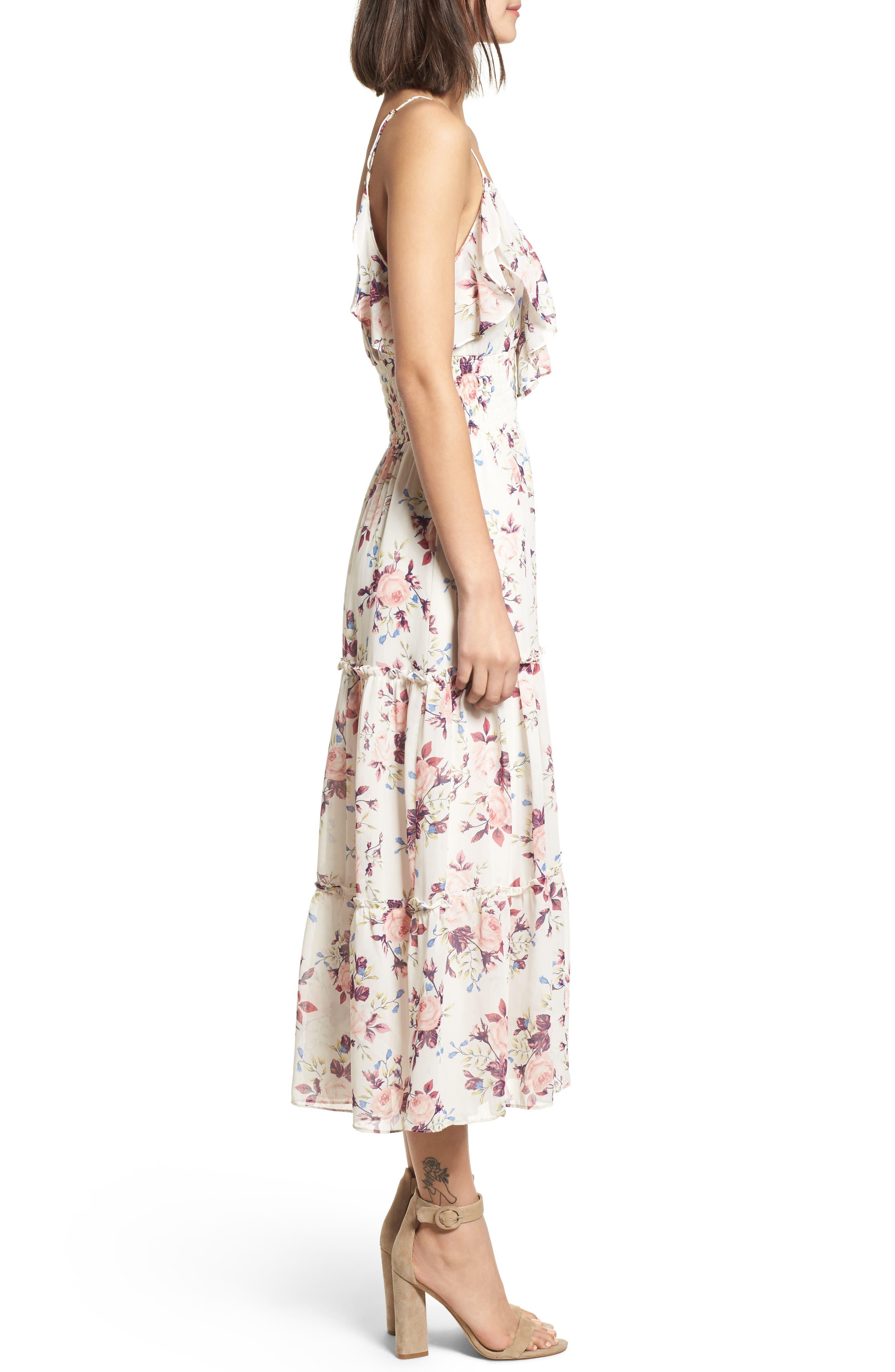 Aviana Midi Dress,                             Alternate thumbnail 3, color,                             White/ Multi Em10