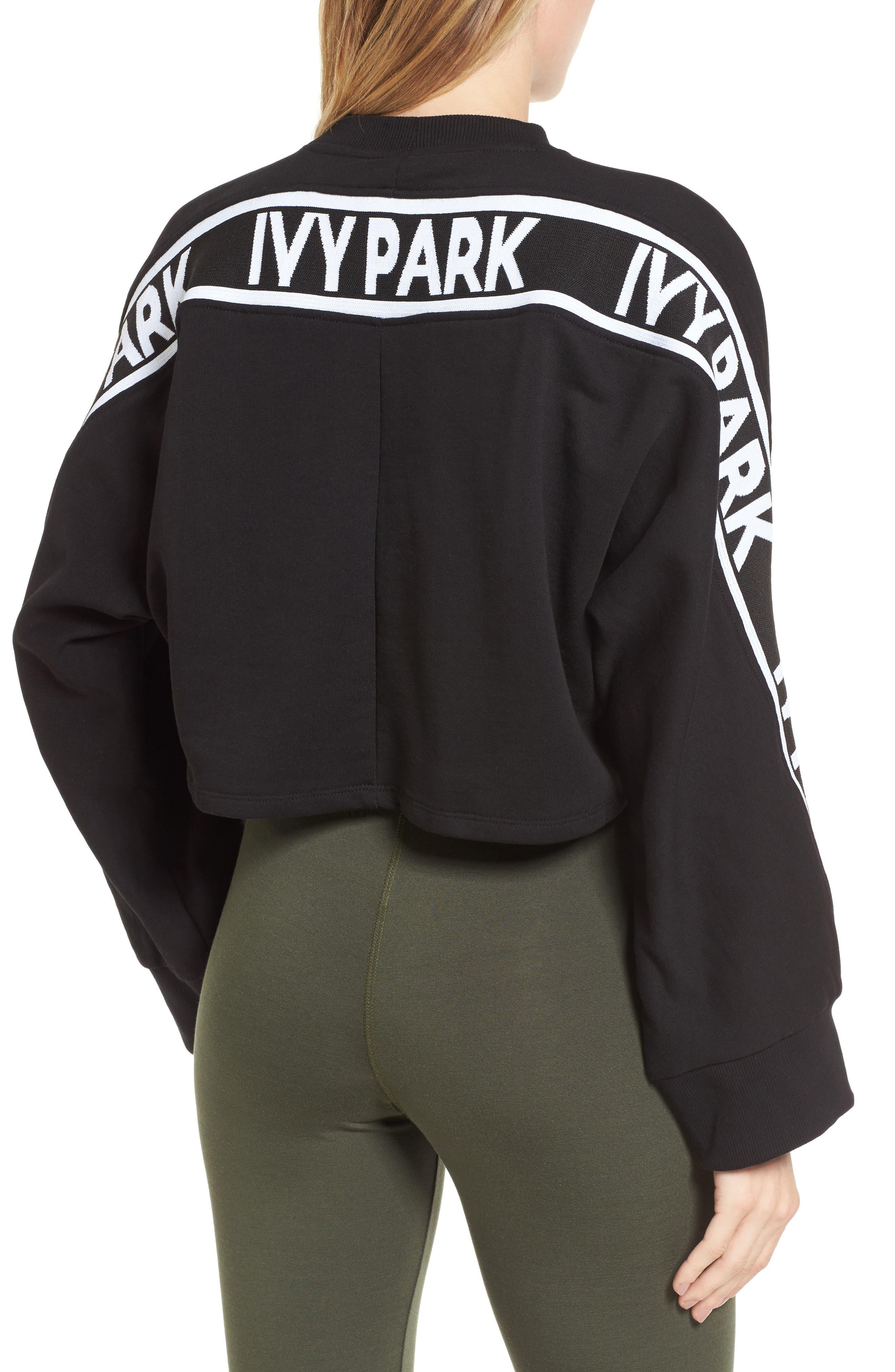Logo Tape Crop Sweatshirt,                             Alternate thumbnail 4, color,                             Black