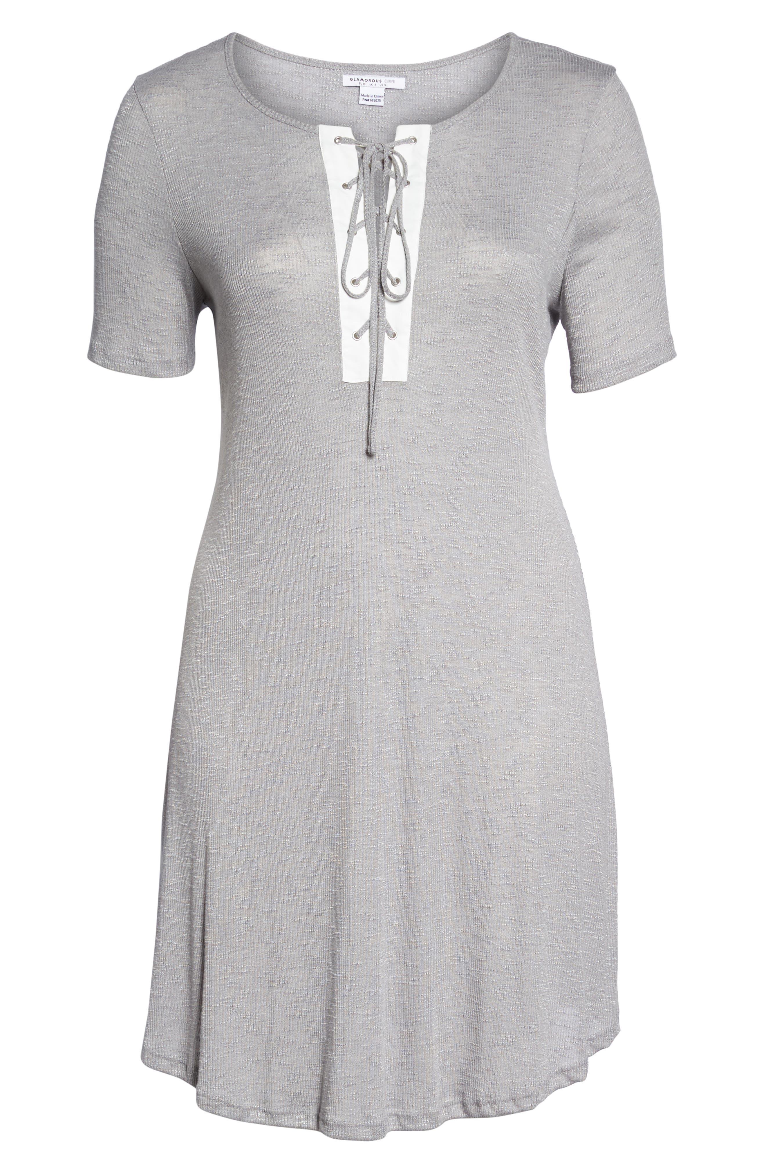 Lace-Up Knit Shift Dress,                             Alternate thumbnail 6, color,                             Grey