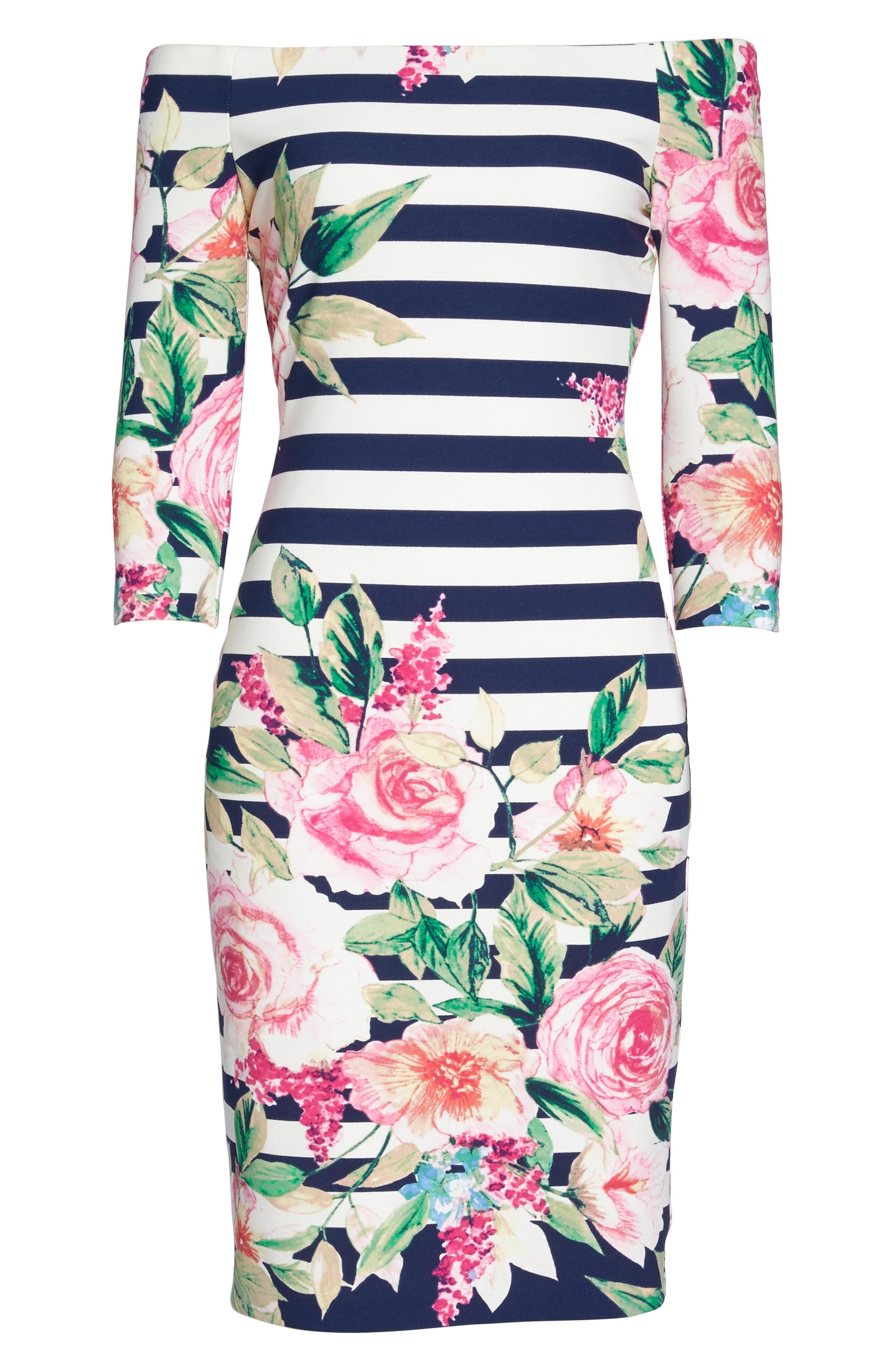 Stripe Off the Shoulder Dress,                             Alternate thumbnail 6, color,                             Navy