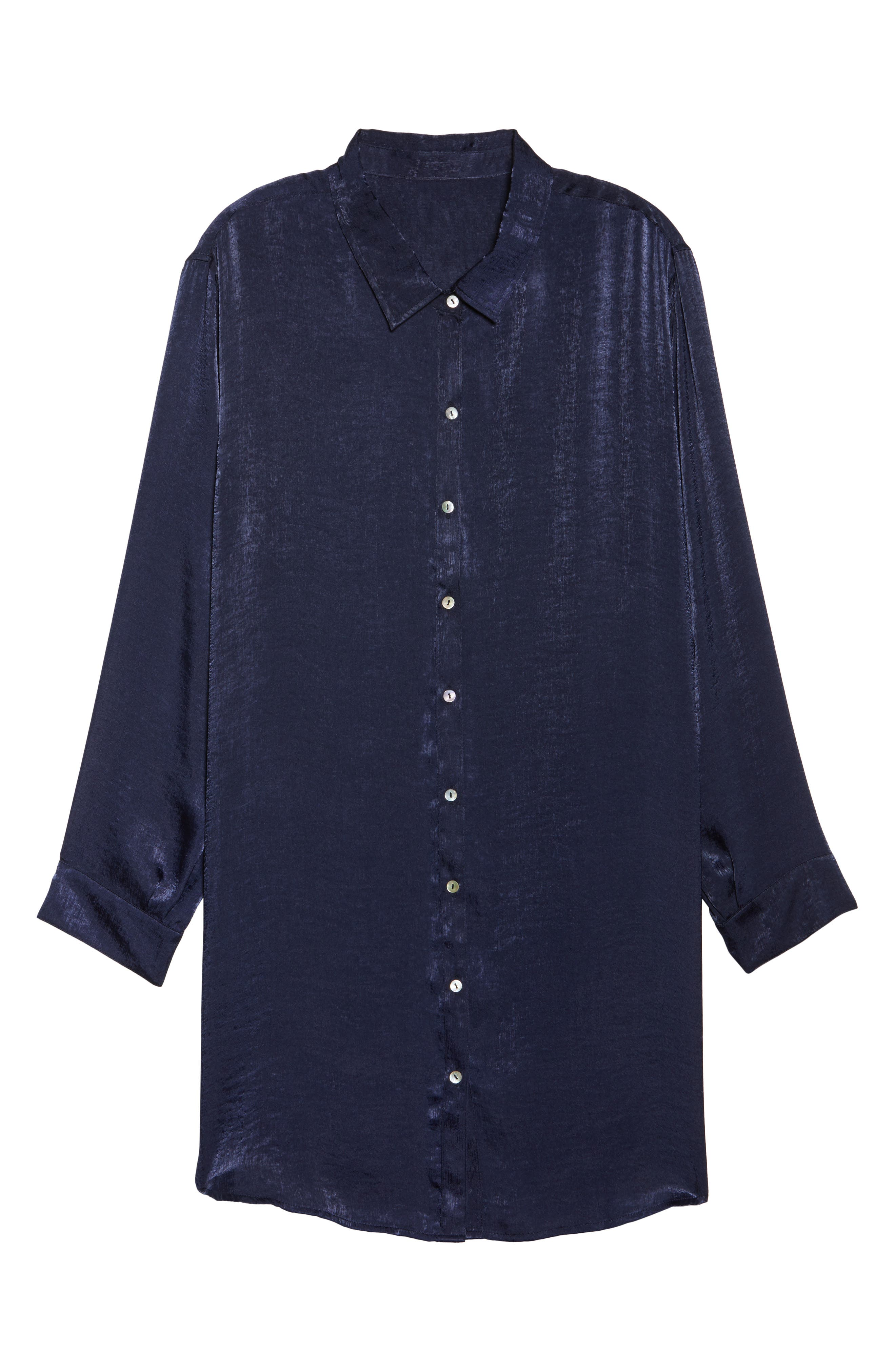 Alternate Image 6  - SLINK Jeans Hammered Satin Tunic Shirt (Plus Size)