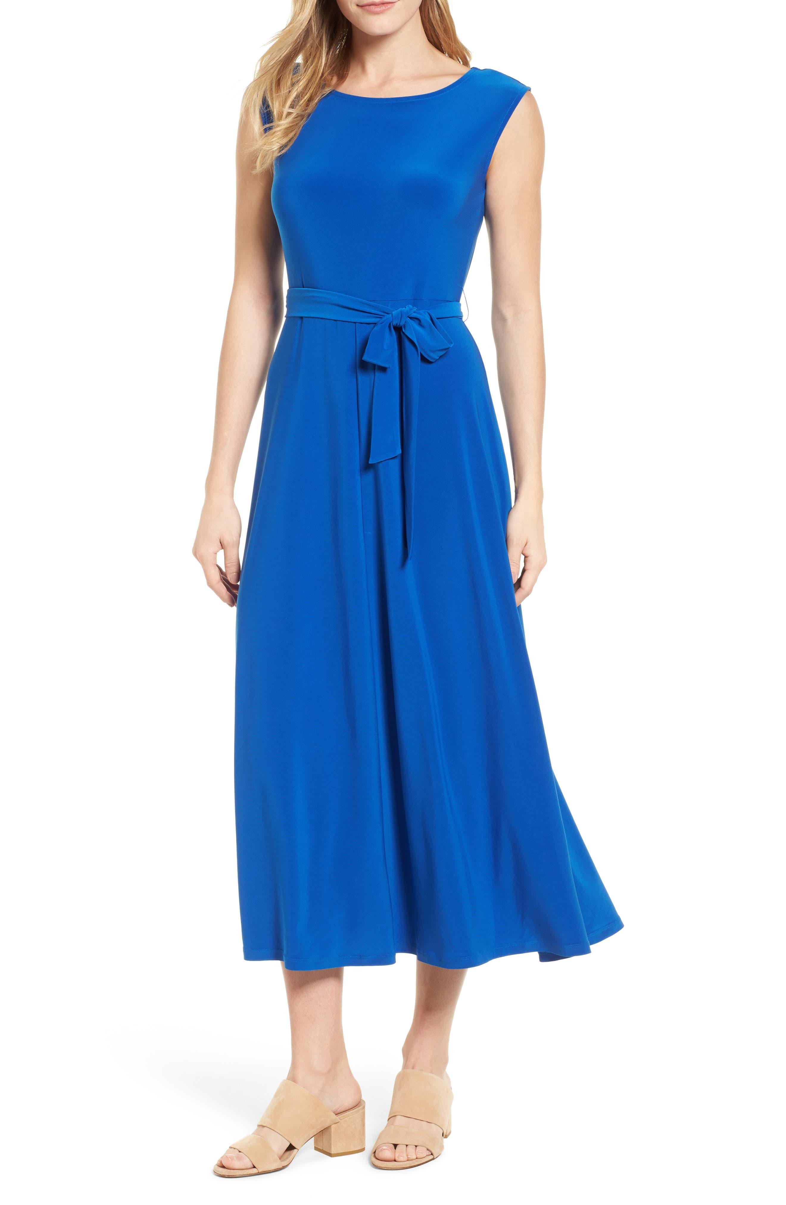 Chaus Cap Sleeve Tie Waist Maxi Dress
