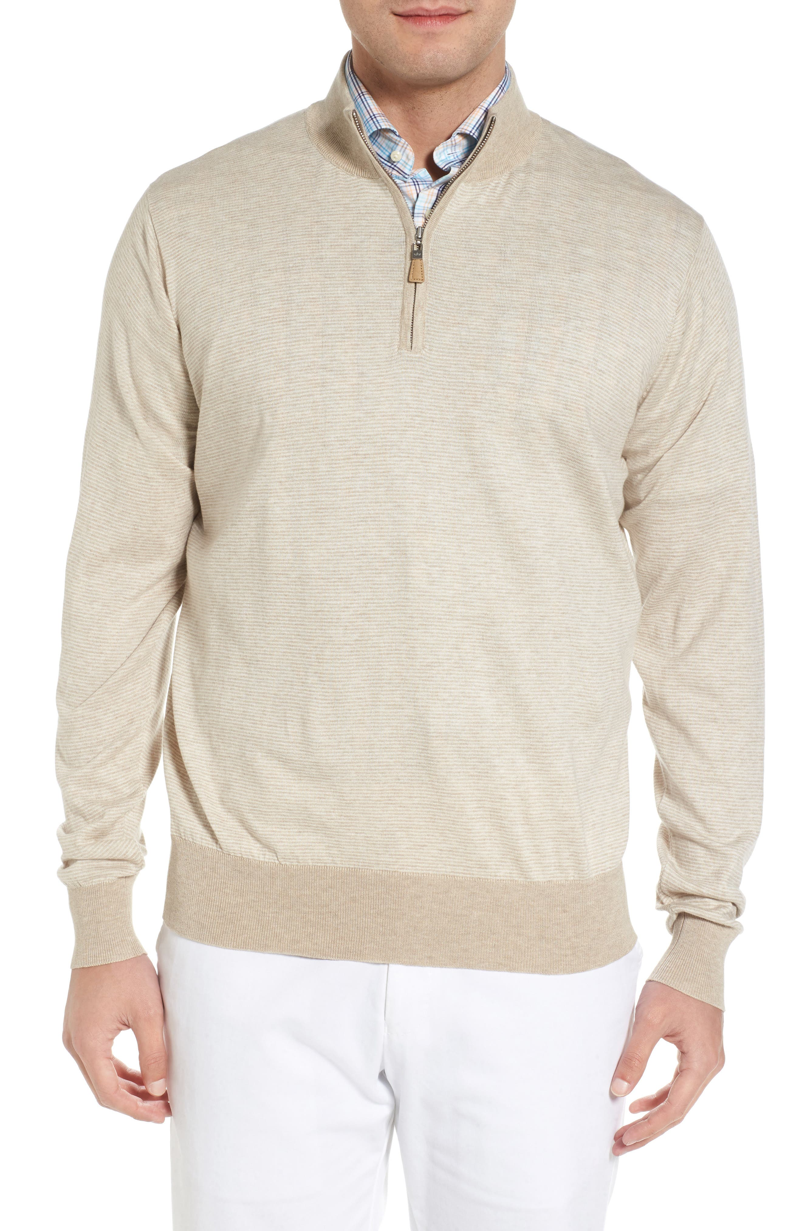 Peter Millar Crown Soft Cotton & Silk Quarter Zip Sweater