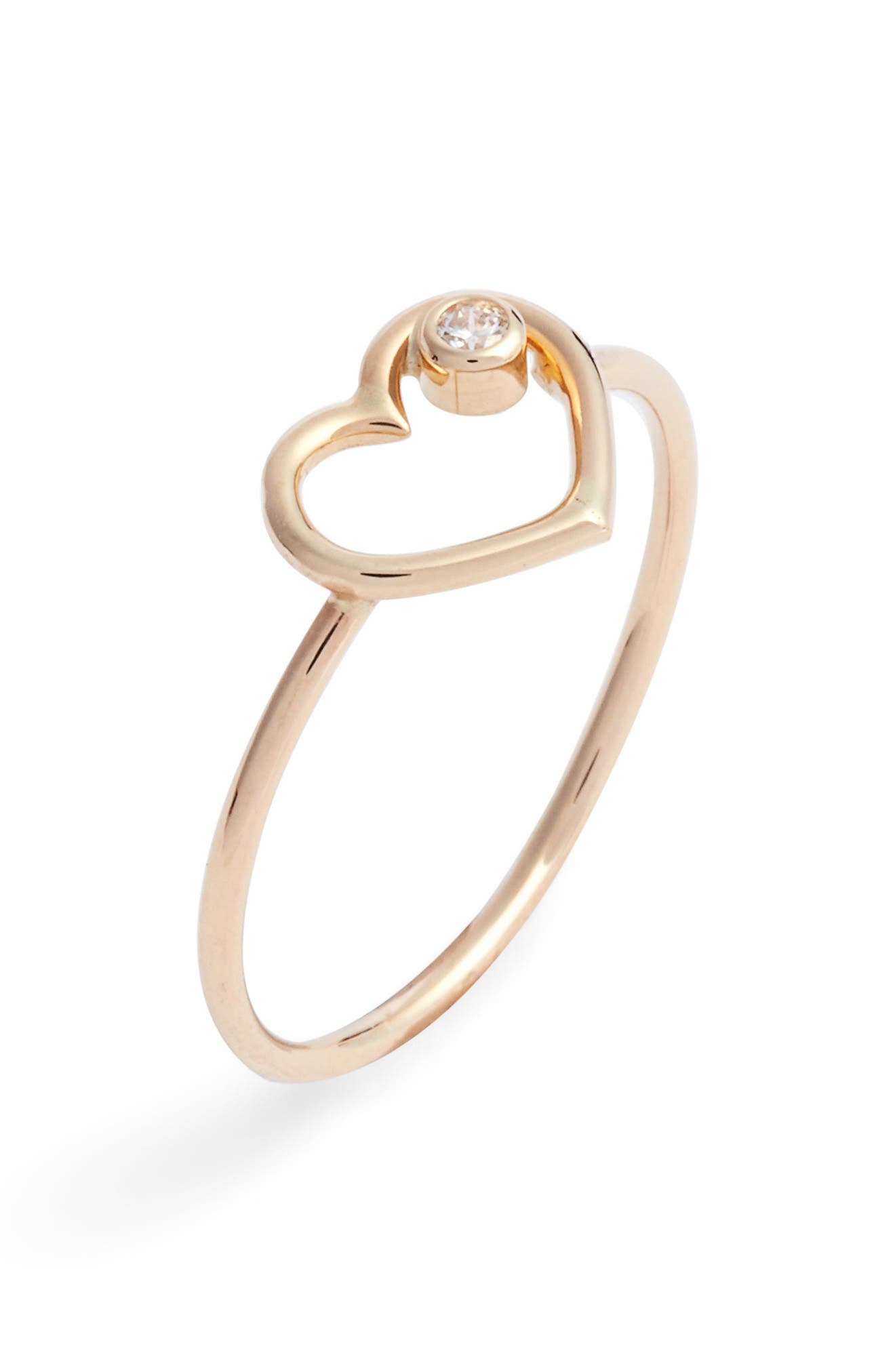Heart of Diamond Ring,                         Main,                         color, Yellow Gold