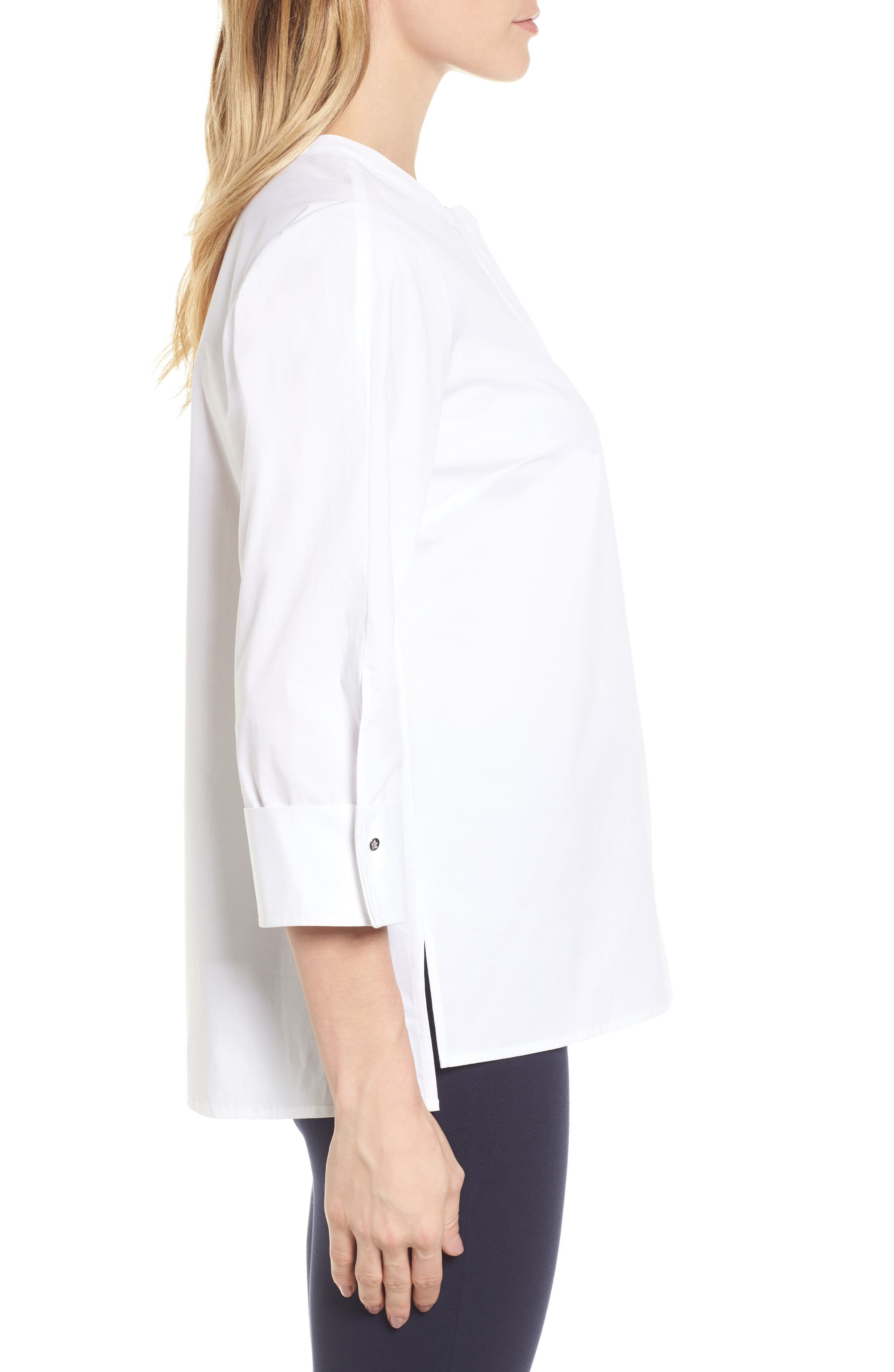 Poplin Blouse,                             Alternate thumbnail 3, color,                             145-Ultra White