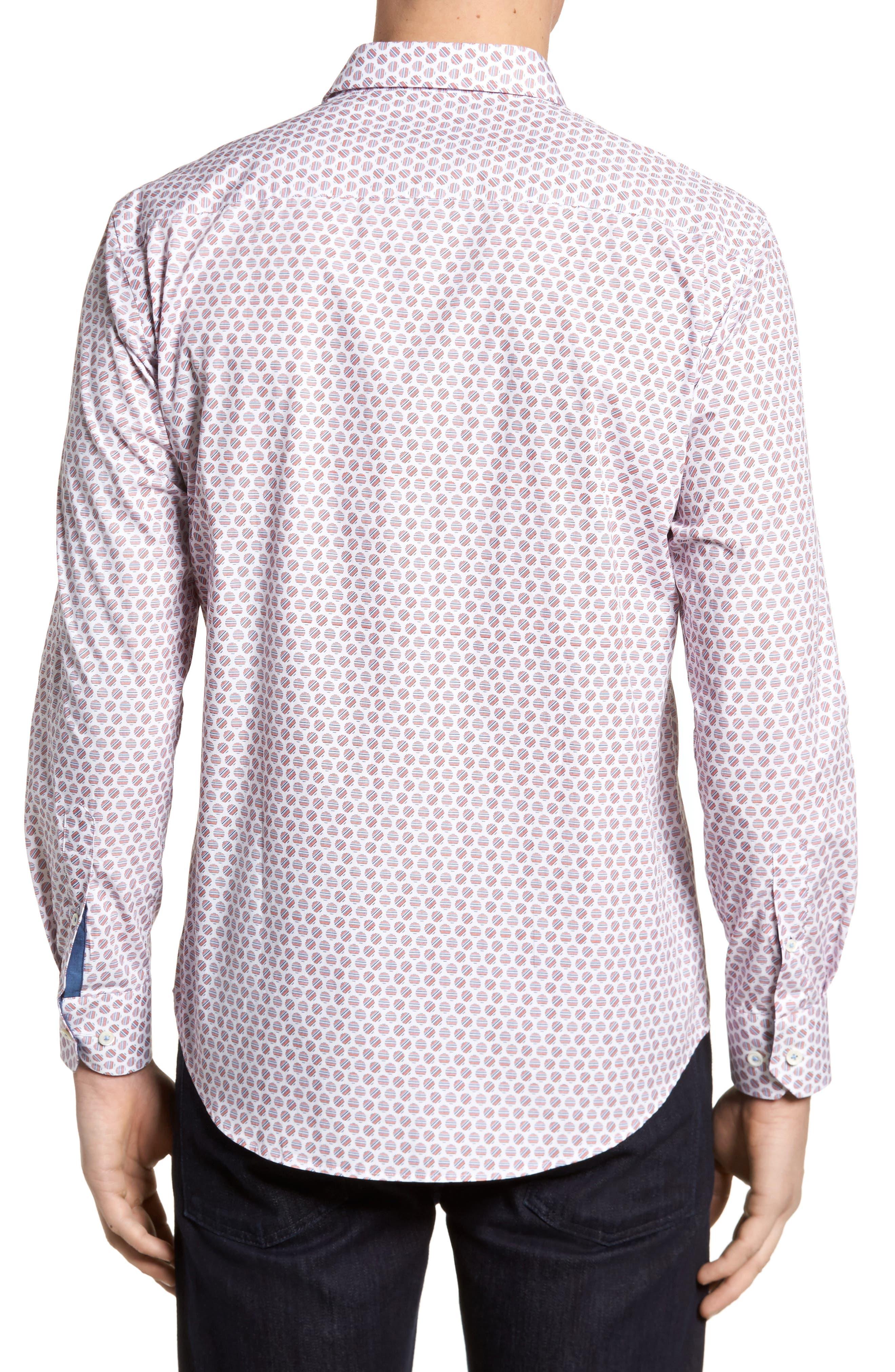 Slim Fit Circle Print Sport Shirt,                             Alternate thumbnail 2, color,                             Pimento
