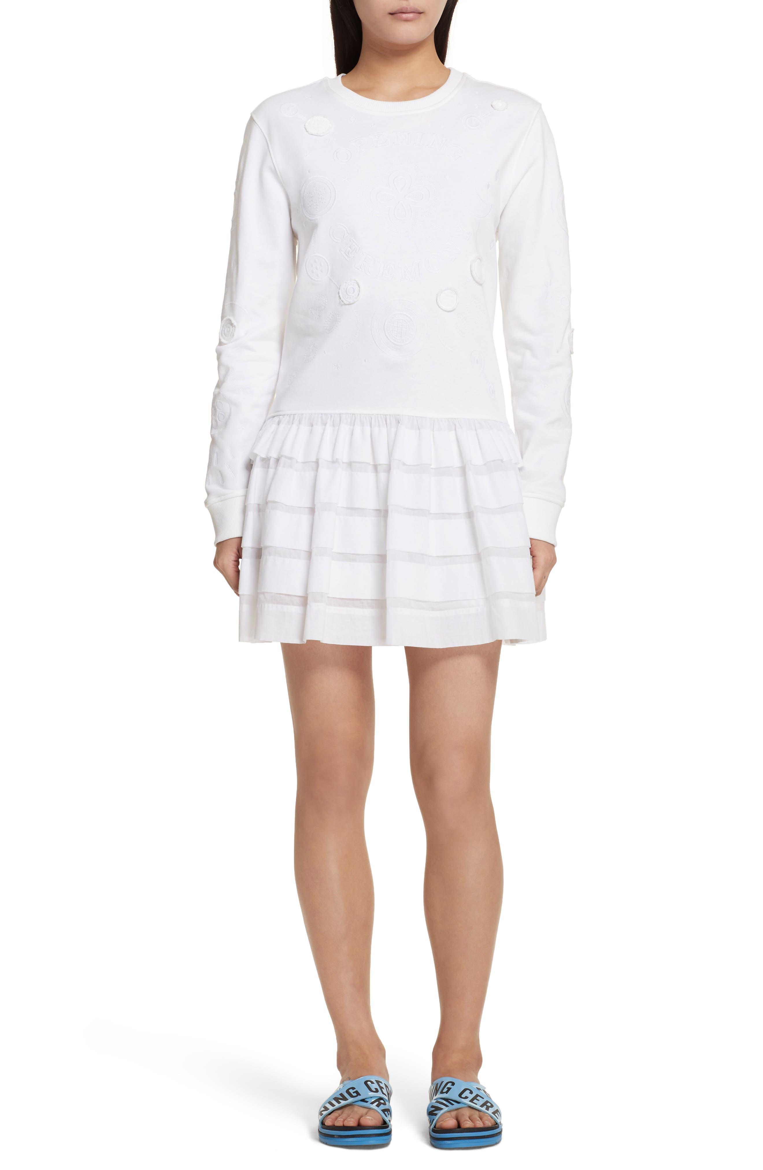 Embroidered Ruffle Hem Dress,                             Main thumbnail 1, color,                             White