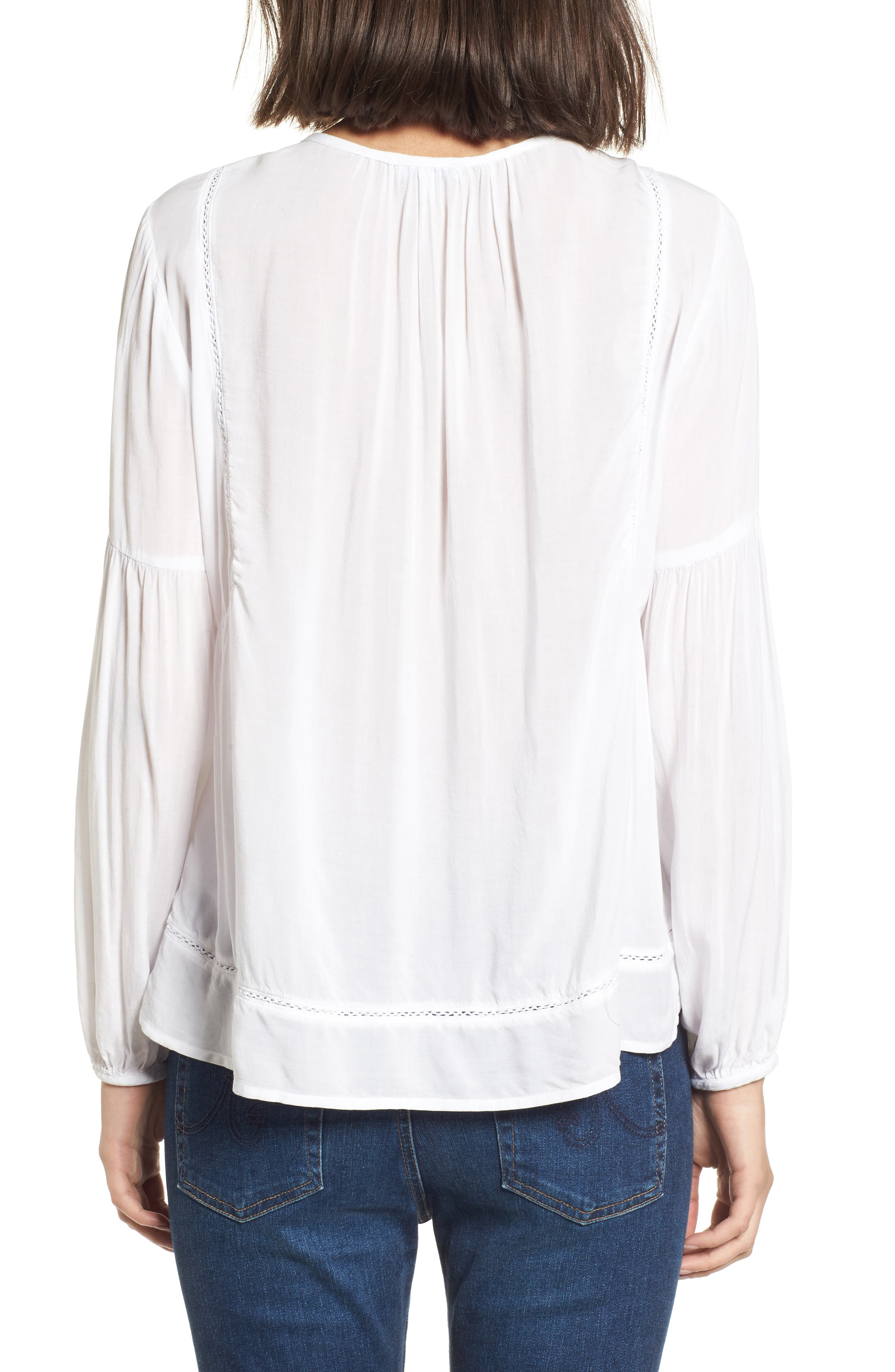 Tassel Woven Blouse,                             Alternate thumbnail 2, color,                             White
