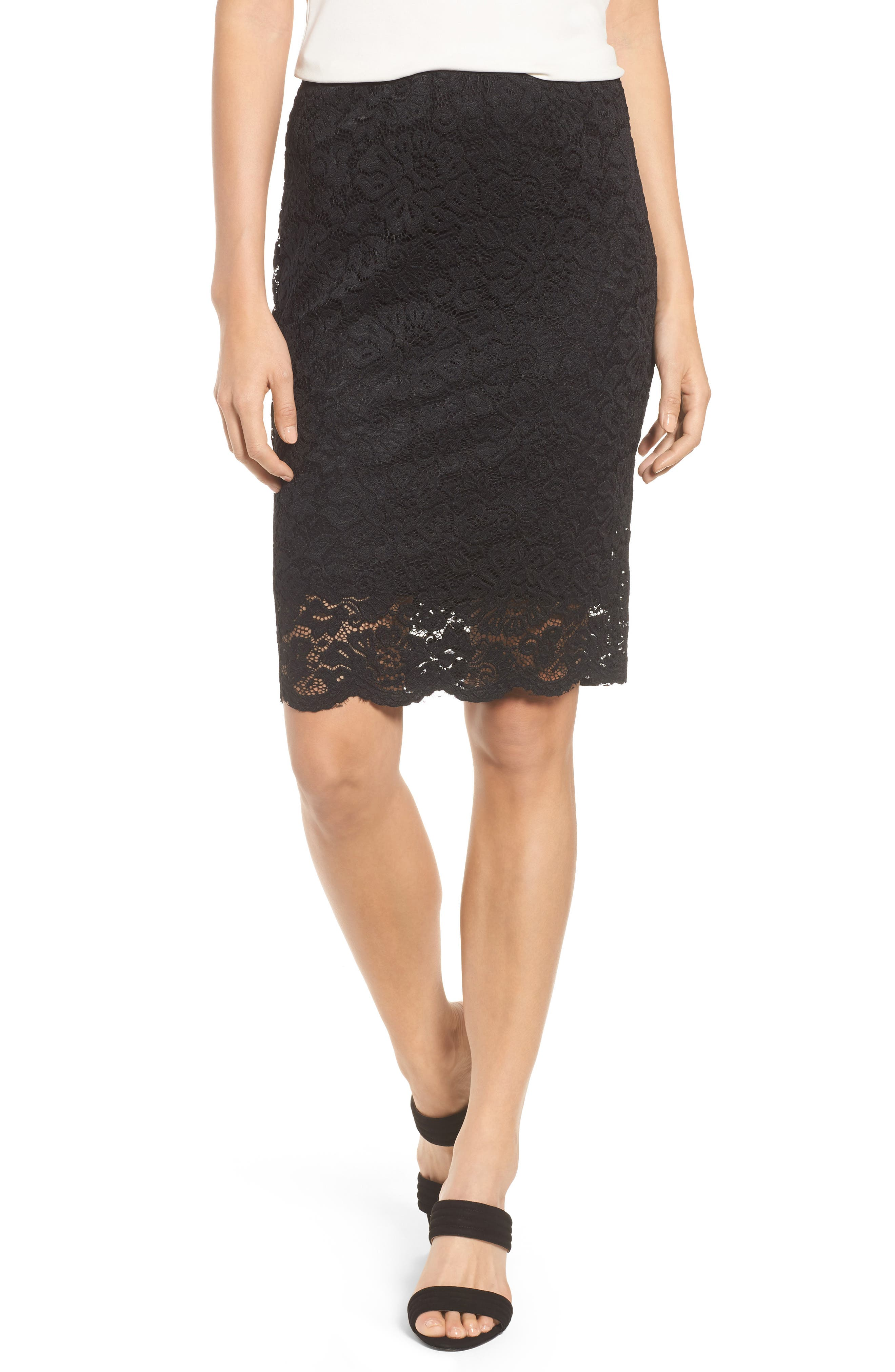 Filippa Scalloped Lace Skirt,                         Main,                         color, Black