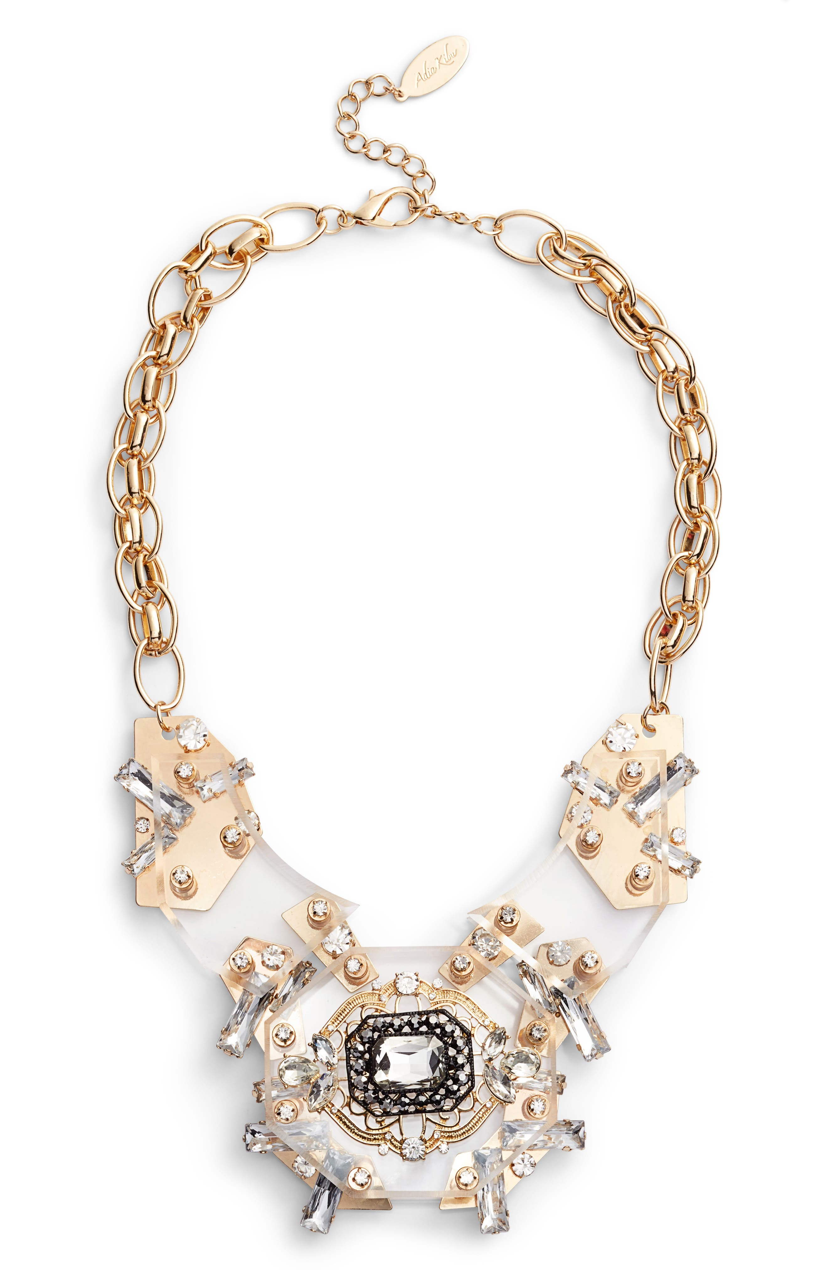 Crystal Statement Necklace,                             Alternate thumbnail 2, color,                             Clear/ Gold