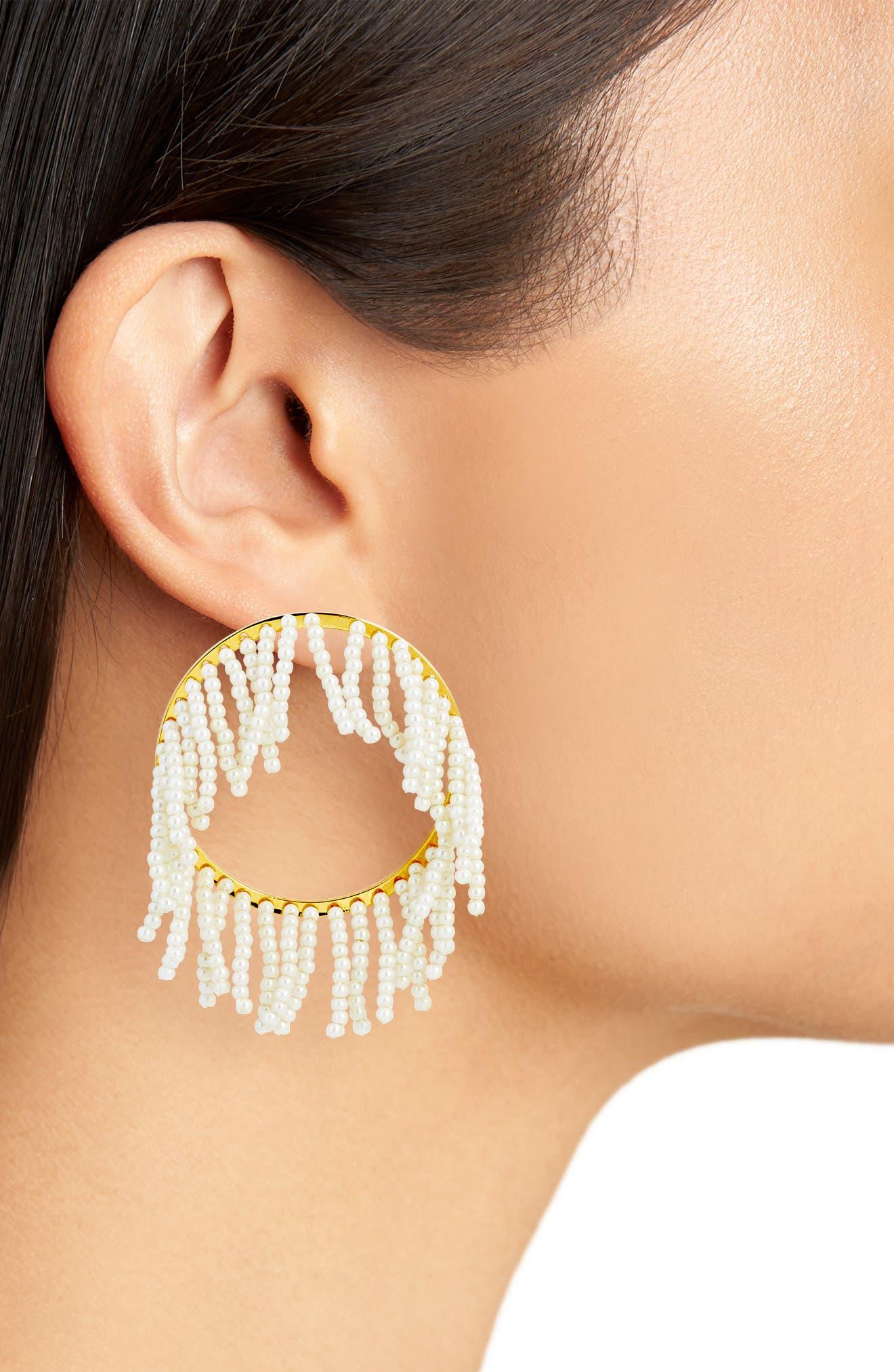 Imitation Pearl Hoop Earrings,                             Alternate thumbnail 2, color,                             Pearl