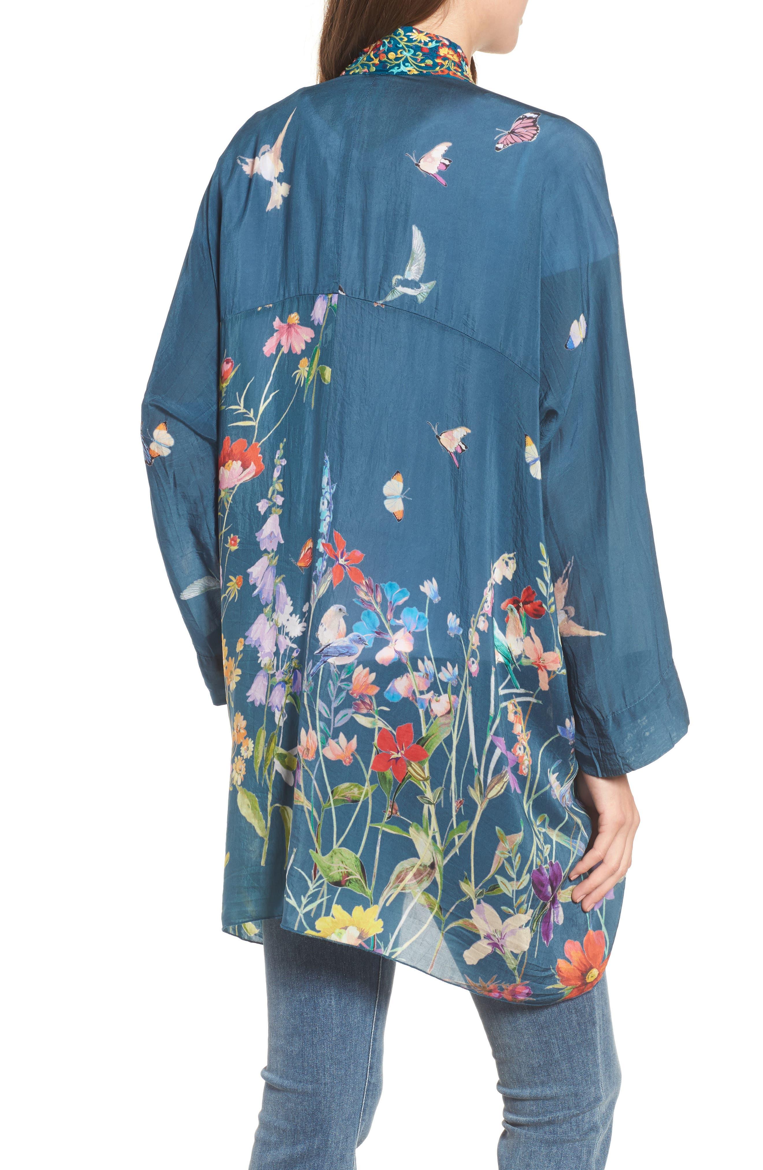 Summer Paisley Silk Kimono,                             Alternate thumbnail 2, color,                             Multi/ Blue
