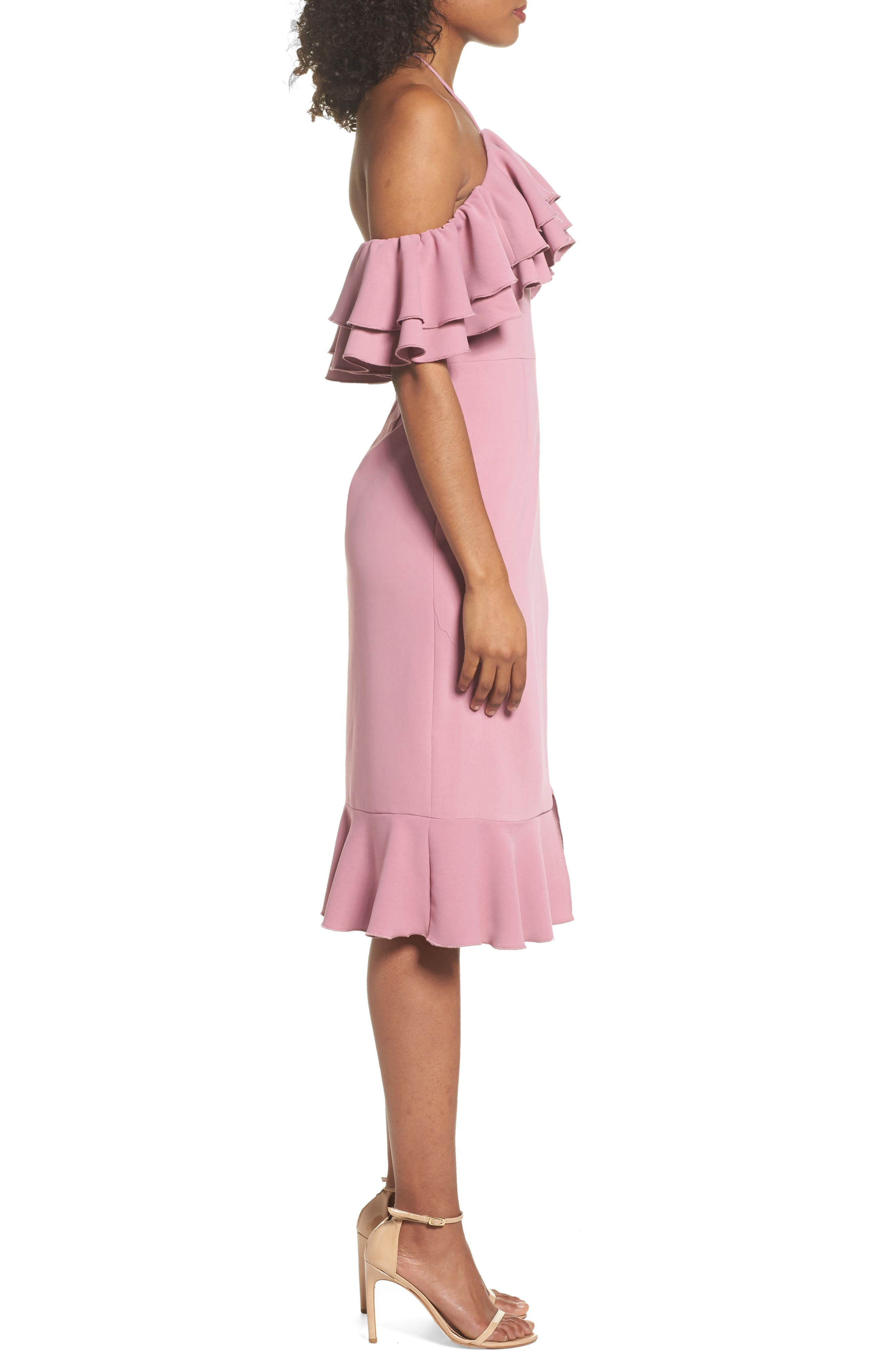 Temptation Ruffle Cold Shoulder Dress,                             Alternate thumbnail 4, color,                             Mulberry