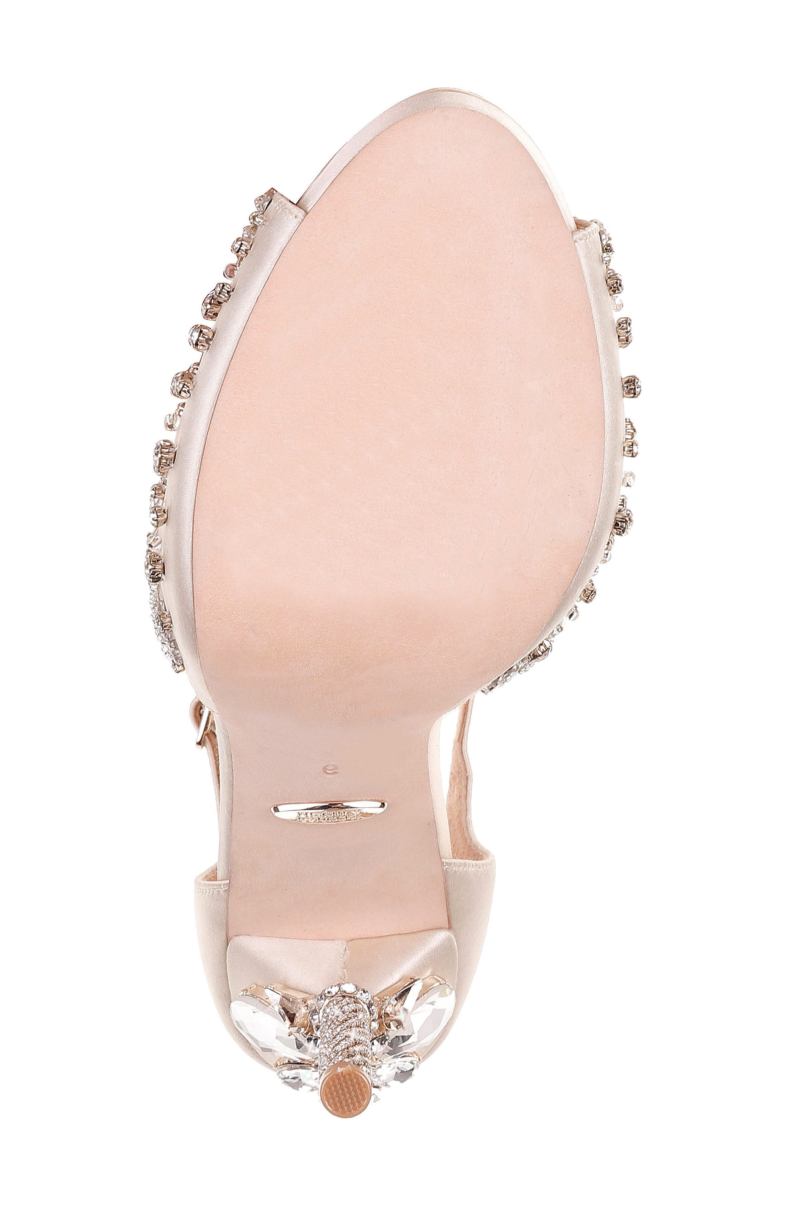 Stacey Crystal Embellished T-Strap Sandal,                             Alternate thumbnail 6, color,                             Ivory Satin