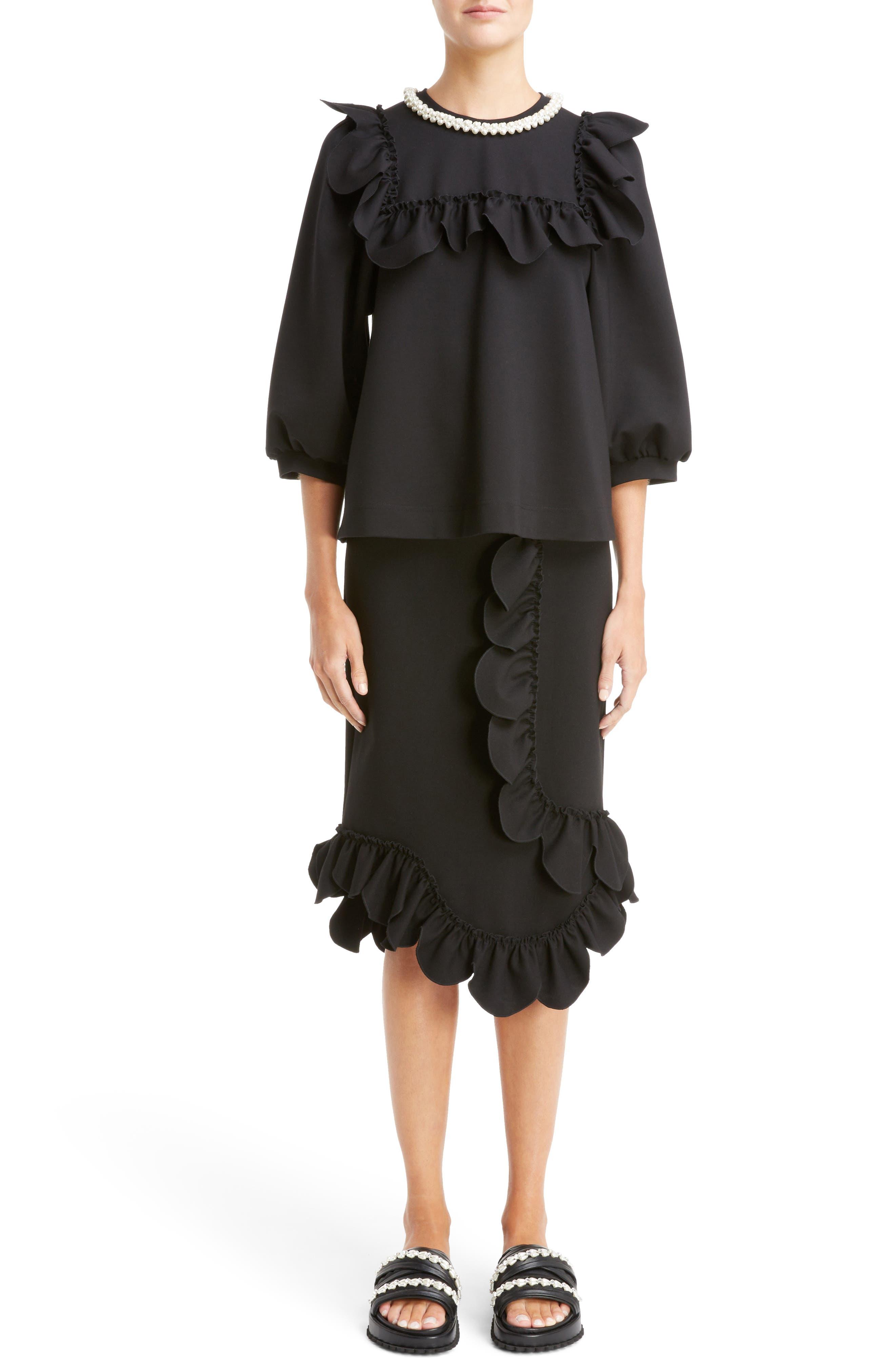 Asymmetrical Ruffle Skirt,                             Alternate thumbnail 2, color,                             Black