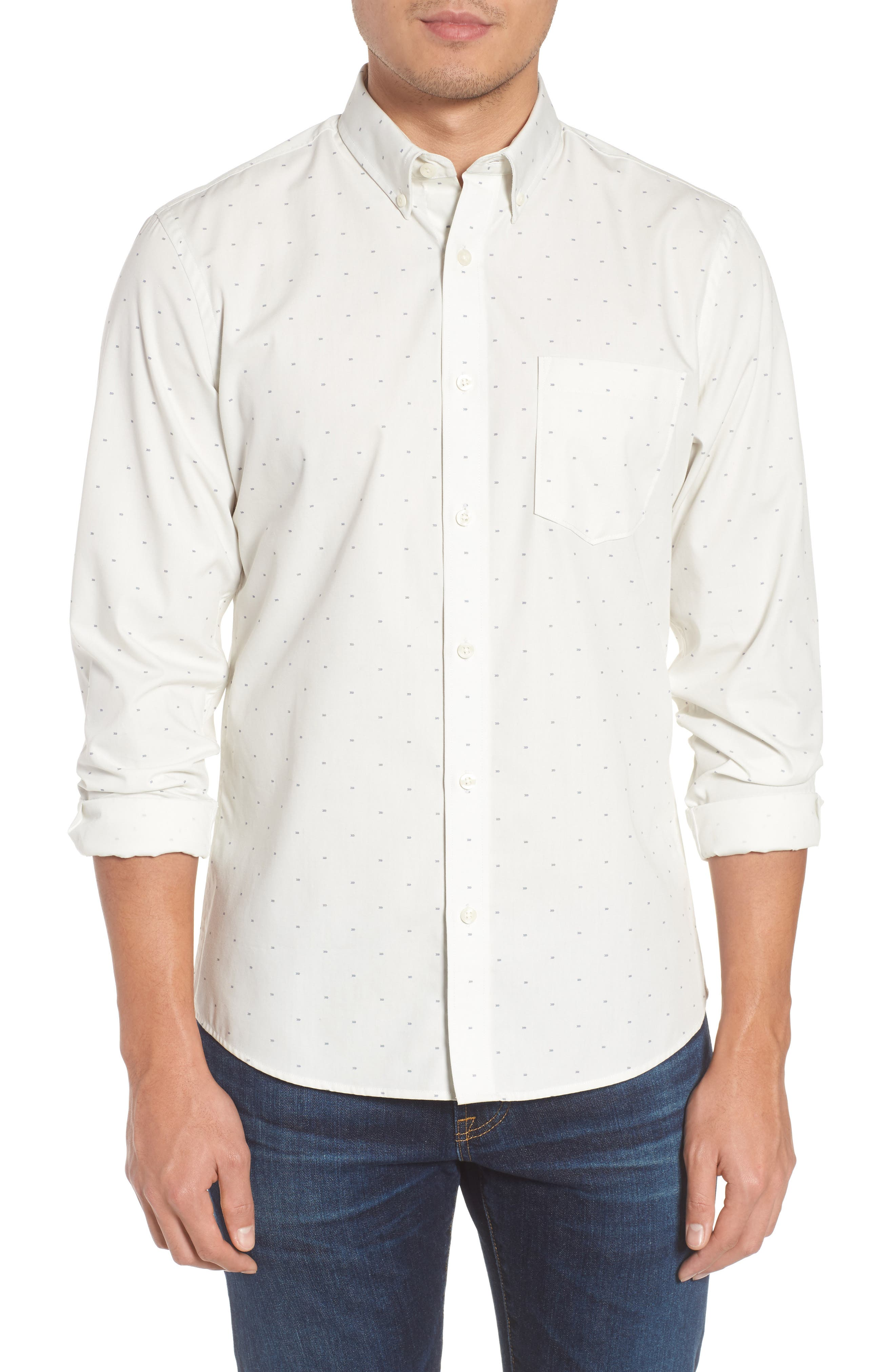 Trim Fit Non-Iron Dobby Sport Shirt,                         Main,                         color, Ivory Navy Dot
