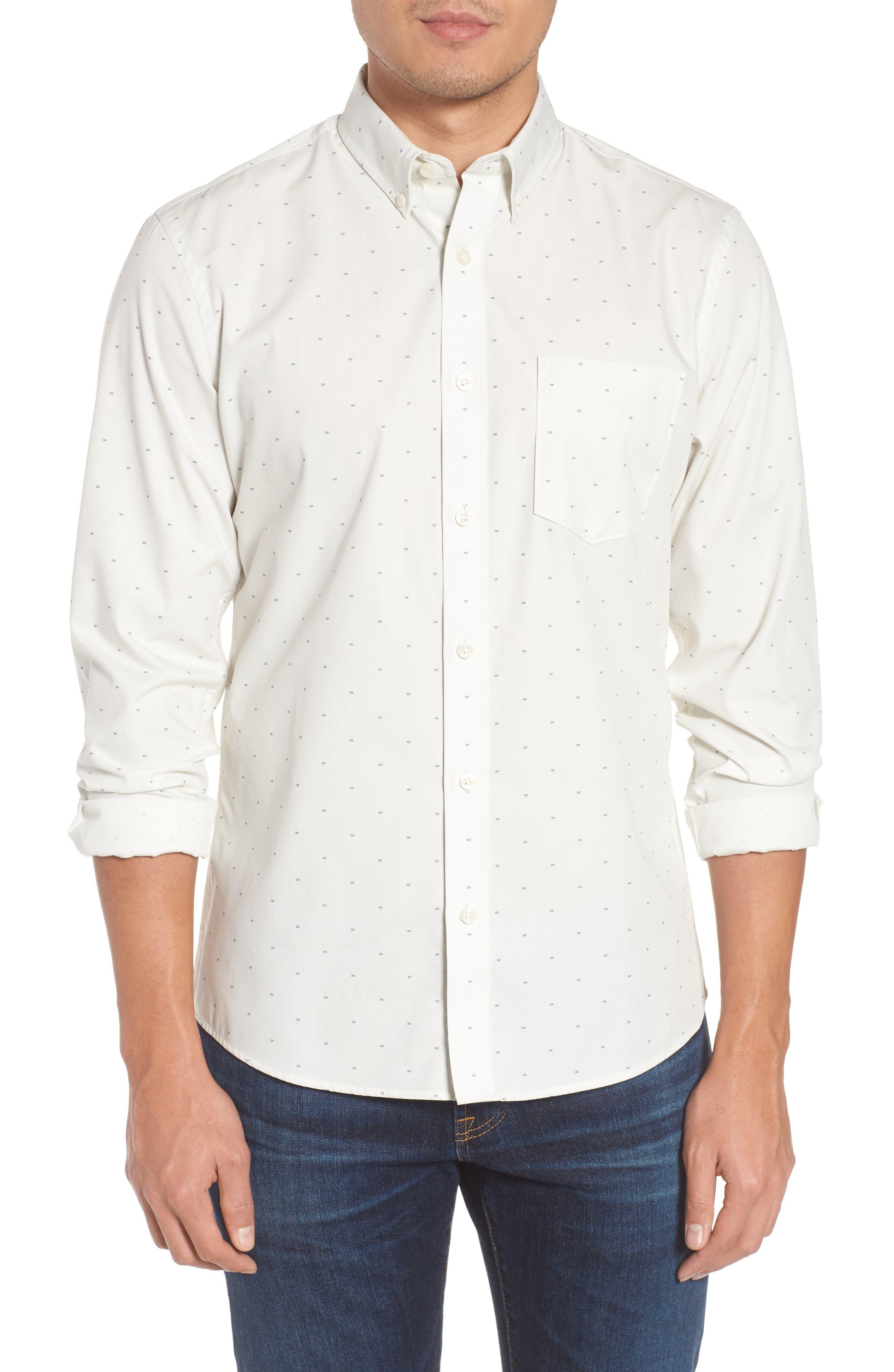 Nordstrom Men's Shop Trim Fit Non-Iron Dobby Sport Shirt