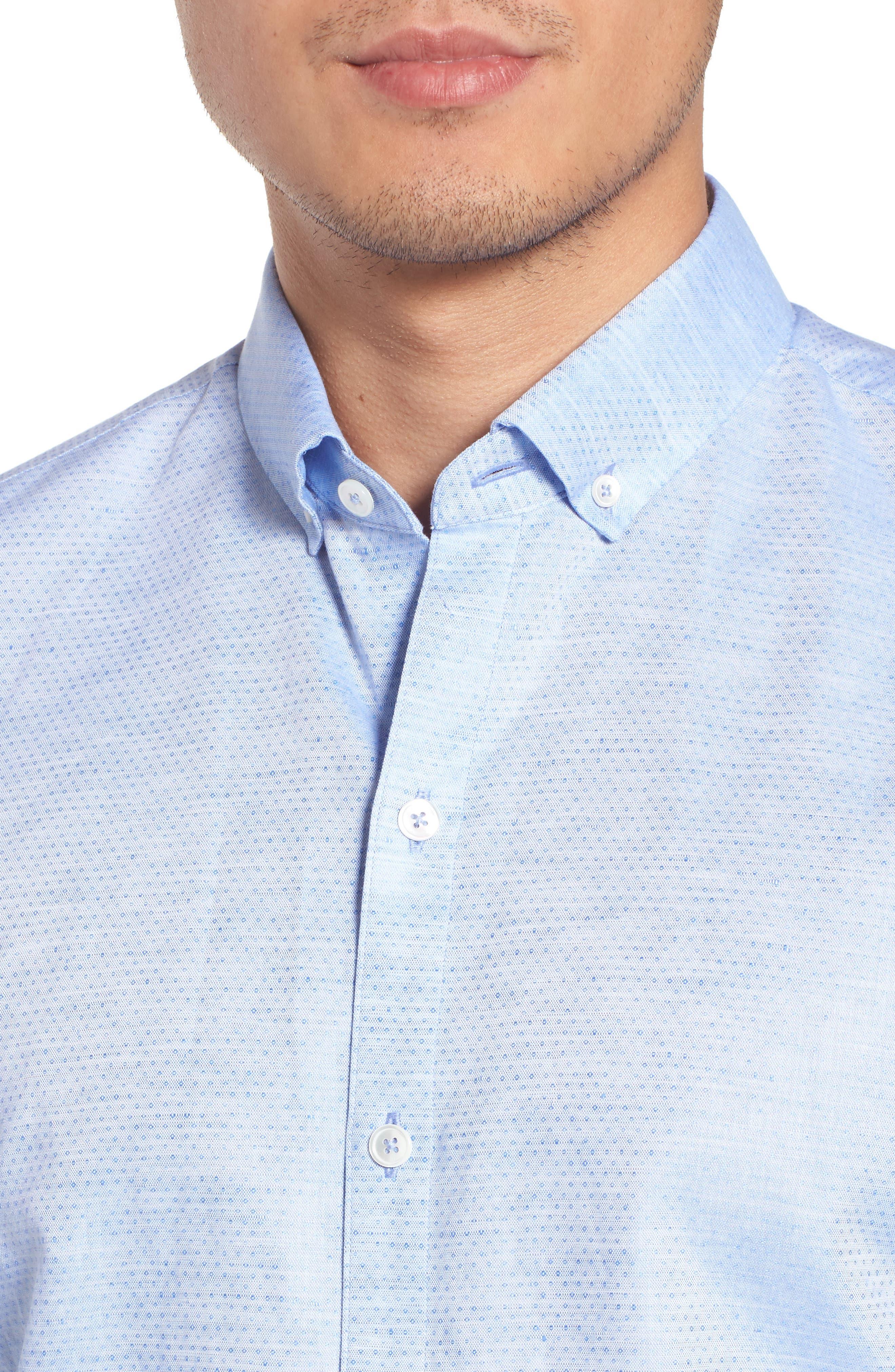 Gomis Regular Fit Dobby Sport Shirt,                             Alternate thumbnail 4, color,                             Light Blue