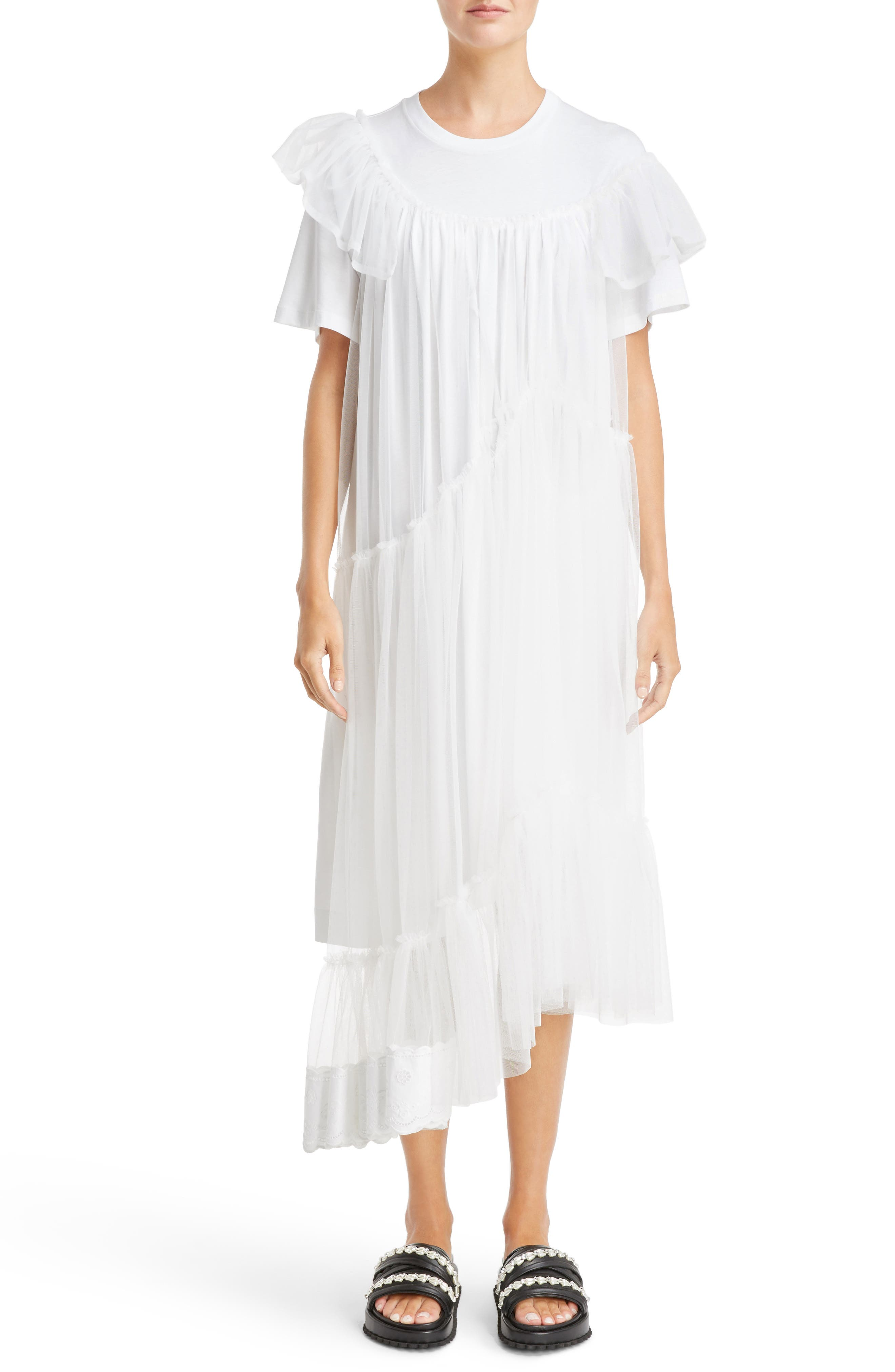 Long Jersey & Tulle T-Shirt Dress,                         Main,                         color, White