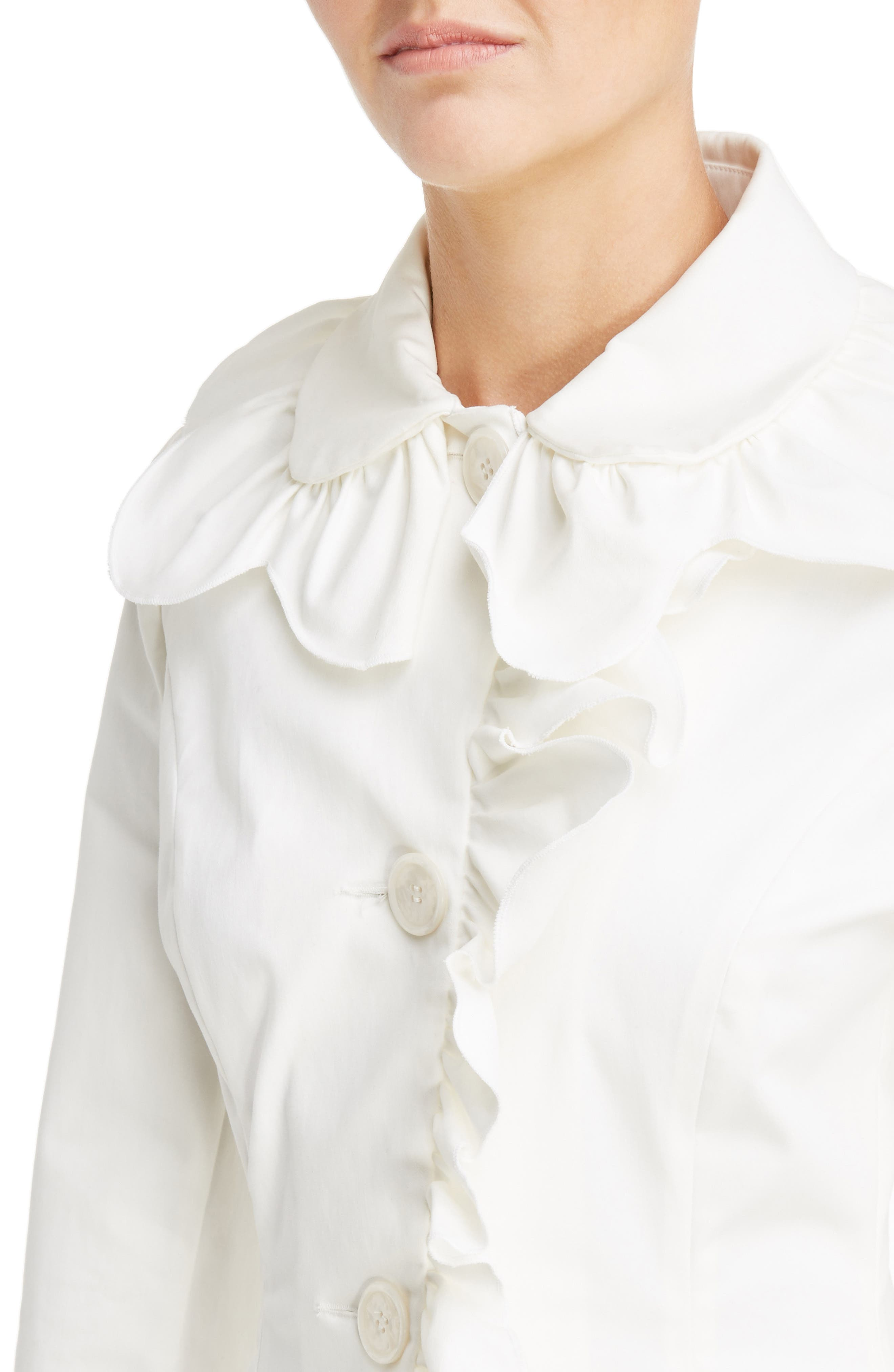 Scallop Frill Fitted Jacket,                             Alternate thumbnail 4, color,                             Ivory