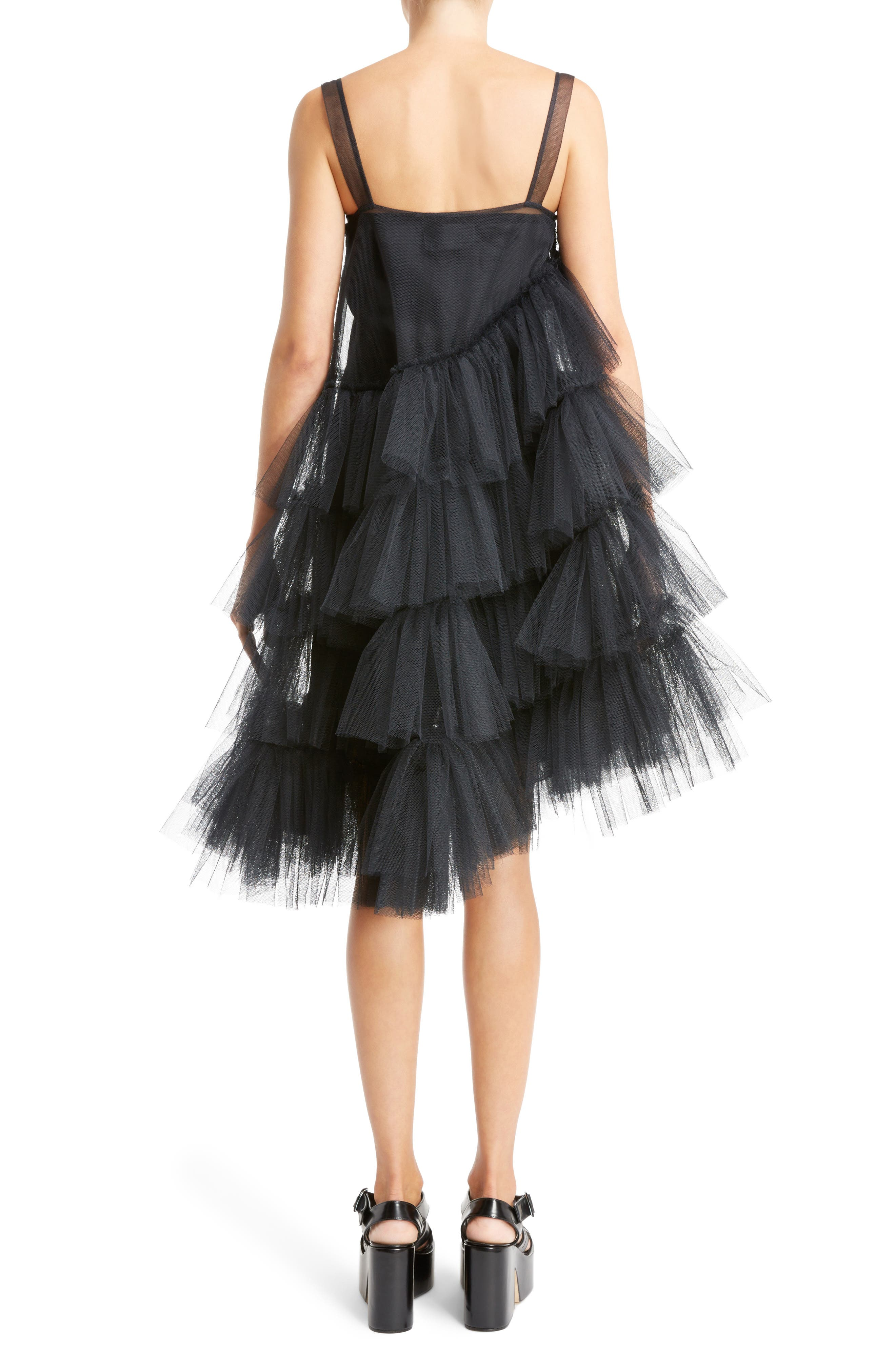 Turbo Tiered Tulle Dress,                             Alternate thumbnail 2, color,                             Black