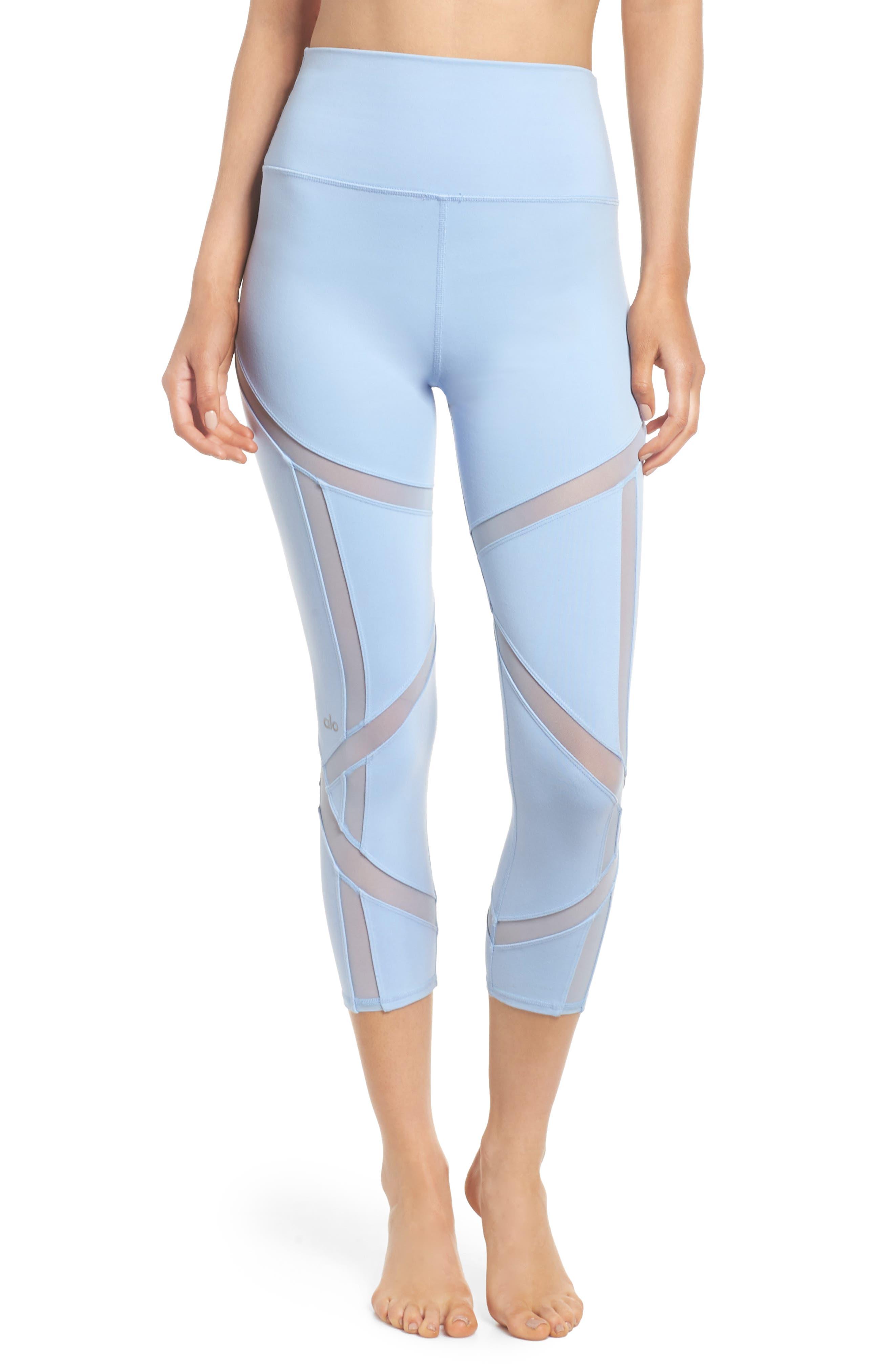 Laced High Waist Capri Leggings,                         Main,                         color, Uv Blue