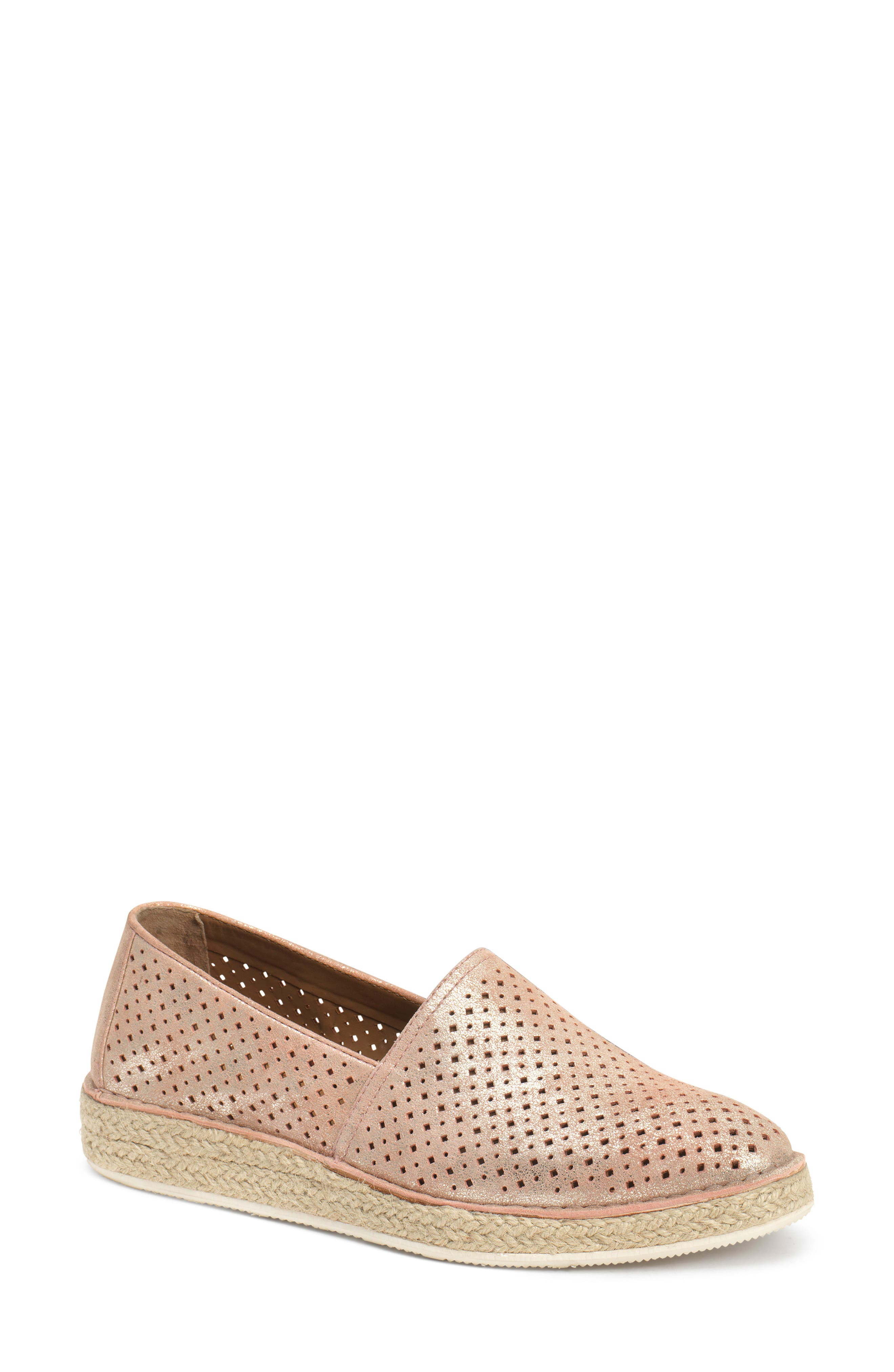 Paige Perforated Flat,                             Main thumbnail 1, color,                             Blush Metallic Suede