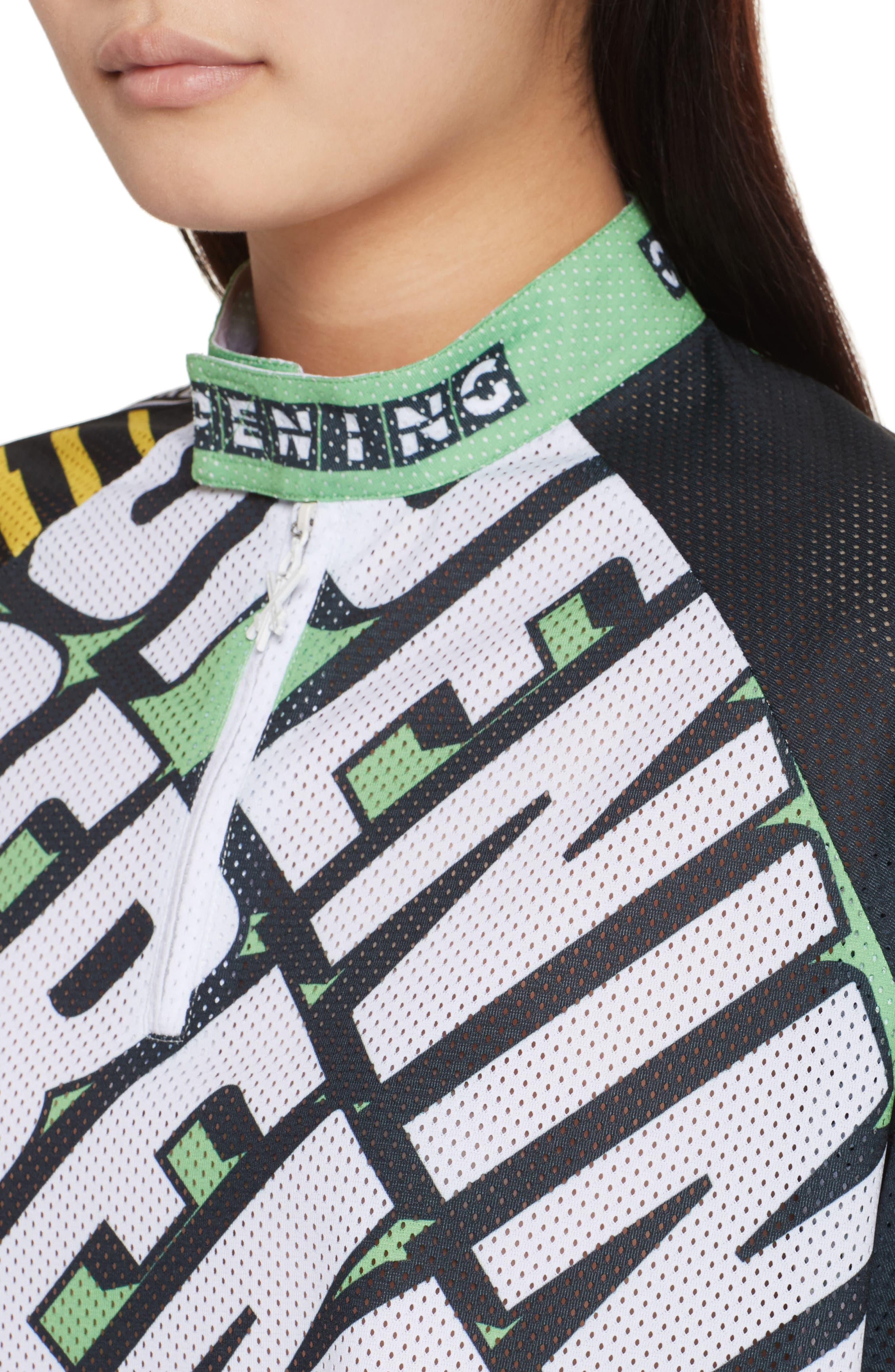 Mesh Moto Crop Top,                             Alternate thumbnail 4, color,                             Laser Green Multi