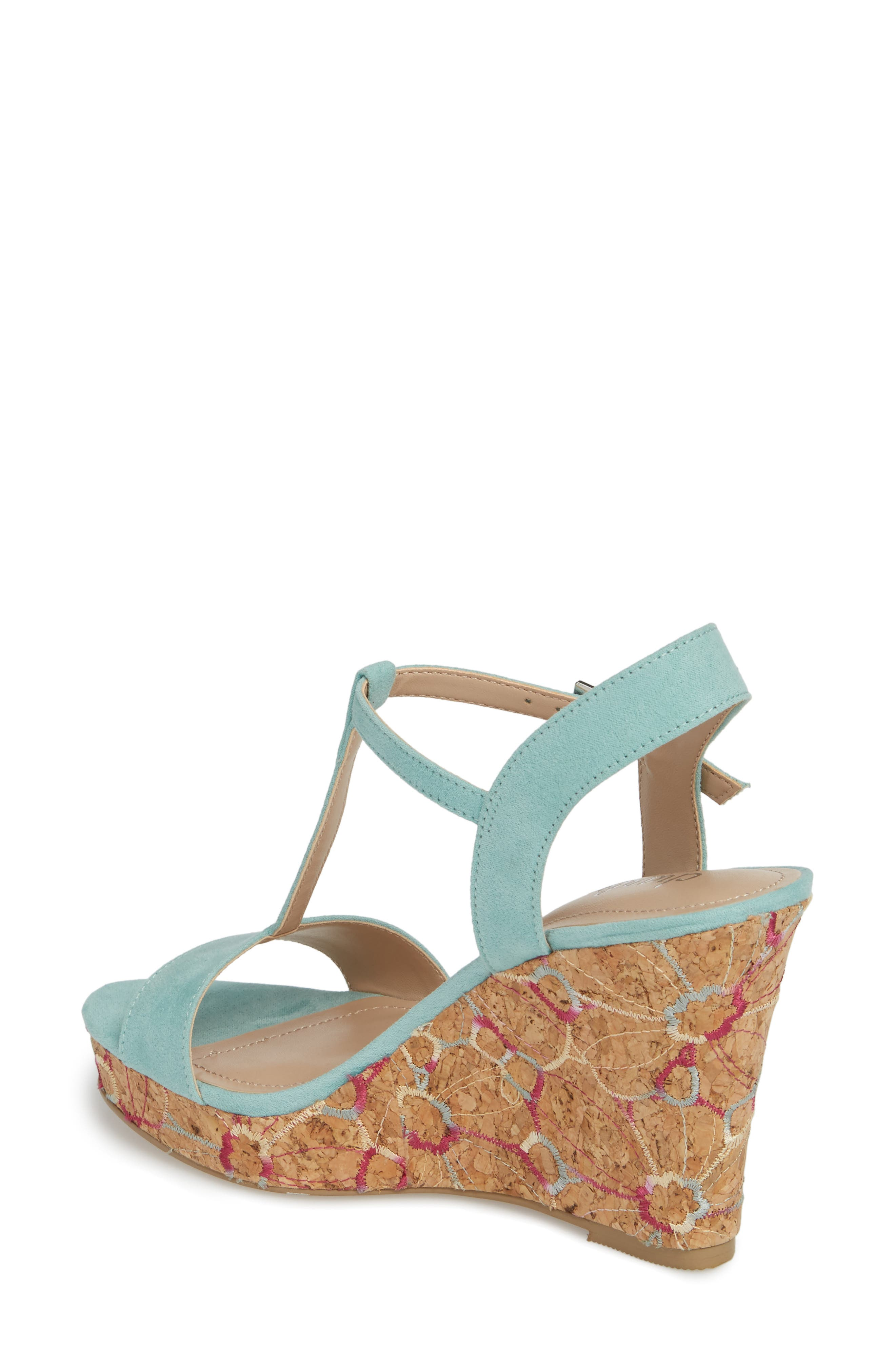 Laney Embroidered Wedge Sandal,                             Alternate thumbnail 2, color,                             Mint Green Suede