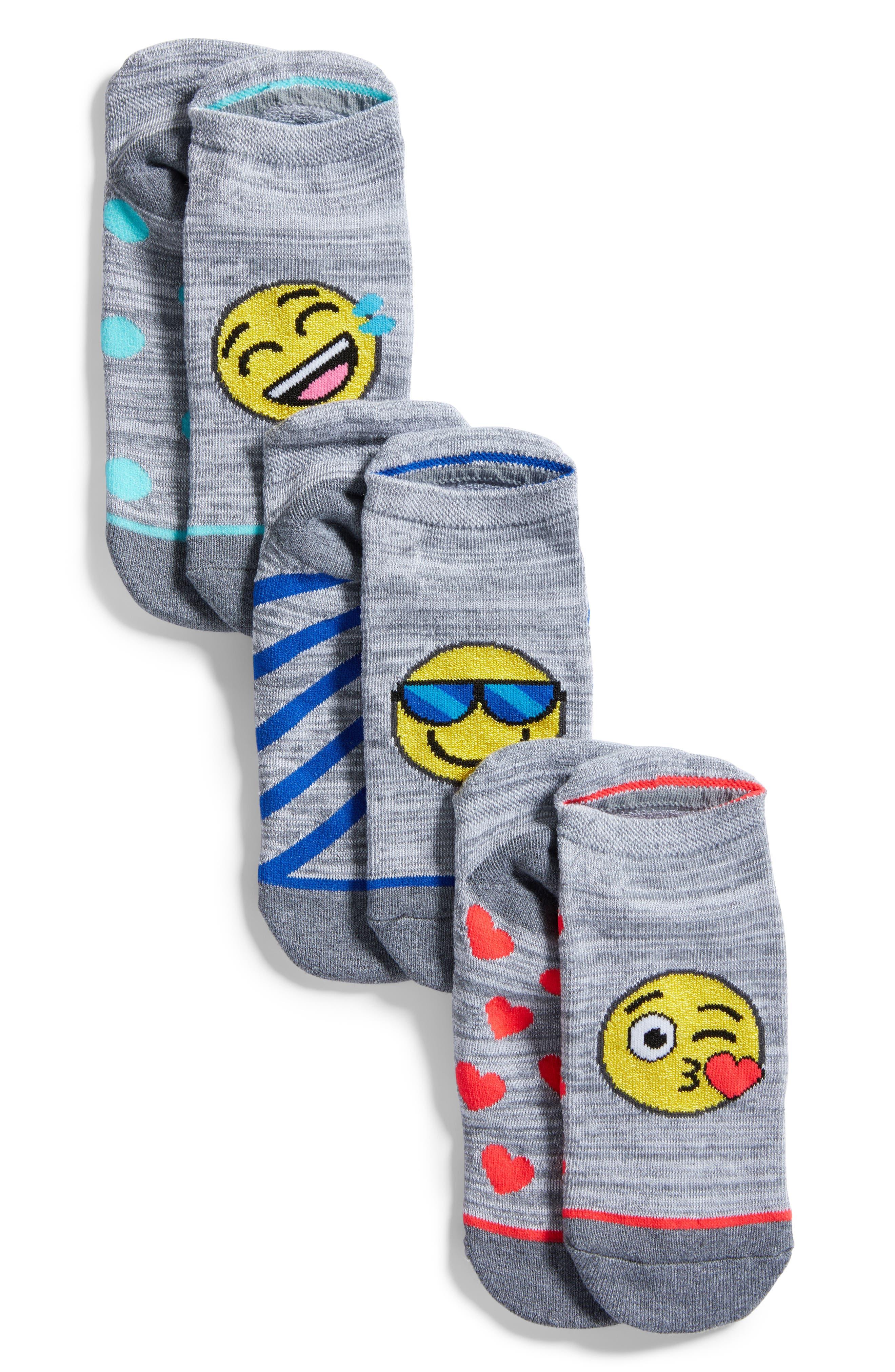 3-Pack Emoji No-Show Socks,                             Main thumbnail 1, color,                             Grey
