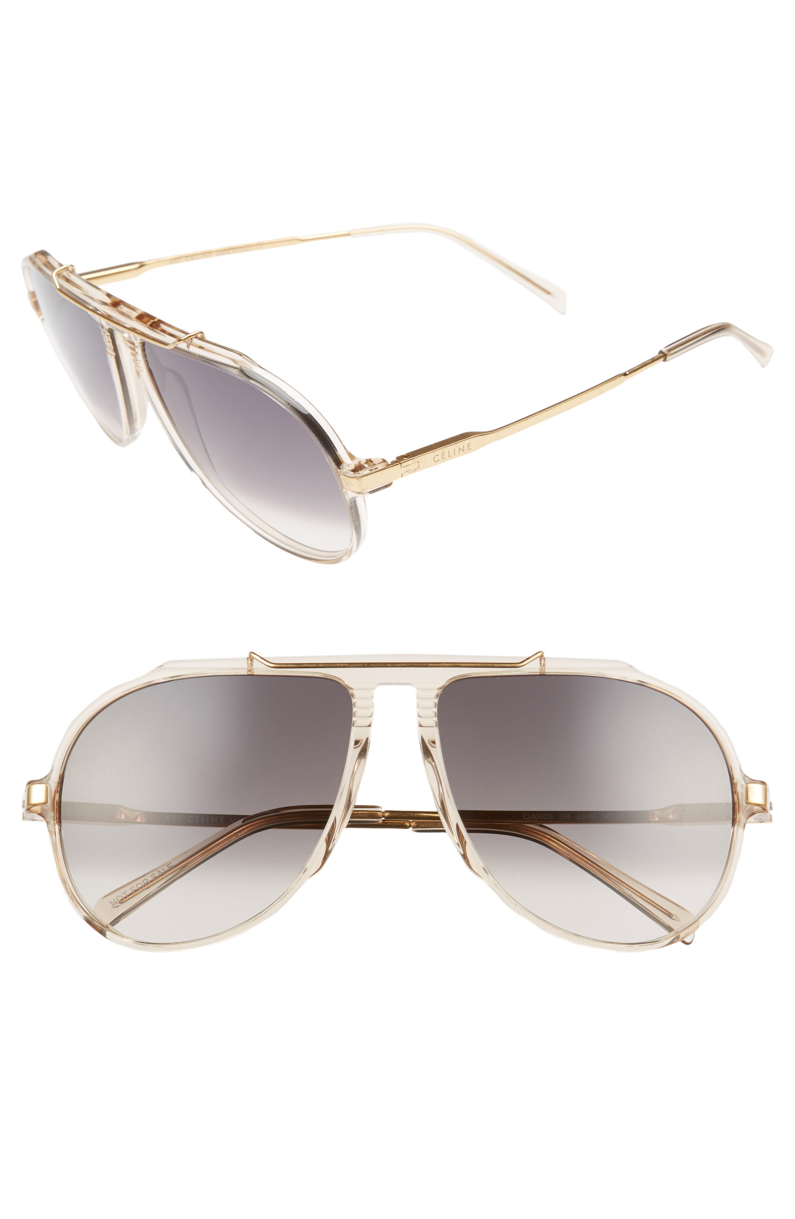 60mm Gradient Aviator Sunglasses,                         Main,                         color, Champagne/ Gold/ Green