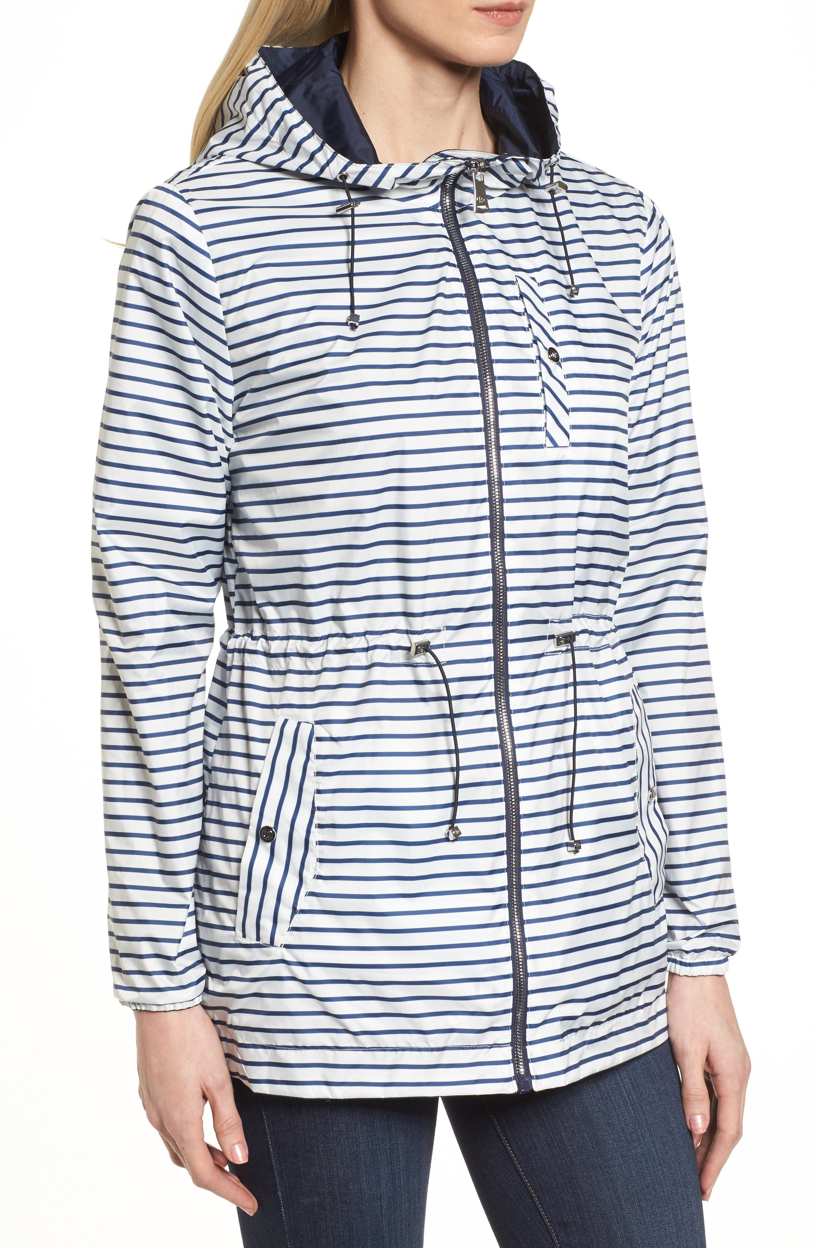 Solid to Stripe Reversible Jacket,                             Alternate thumbnail 2, color,                             Navy