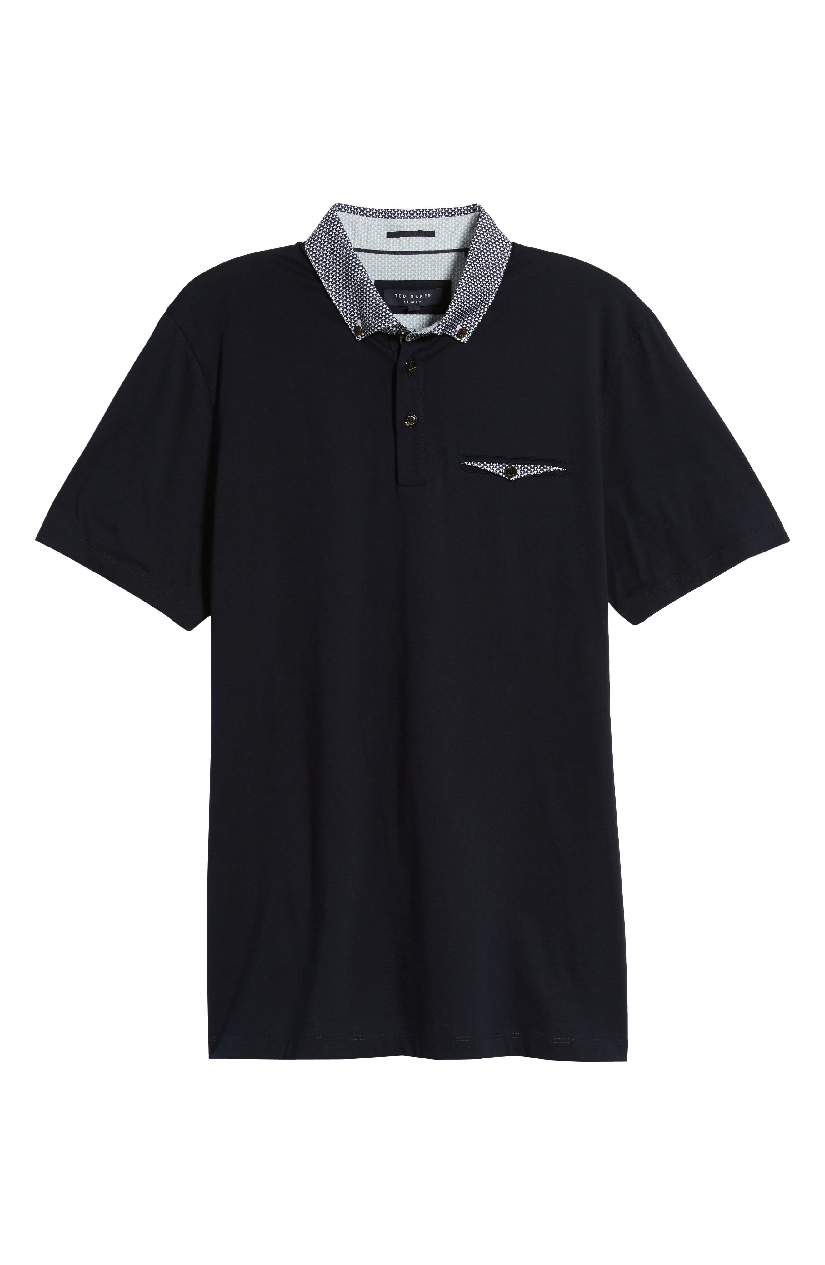 Movey Trim Fit Woven Geo Polo,                             Alternate thumbnail 6, color,                             Navy