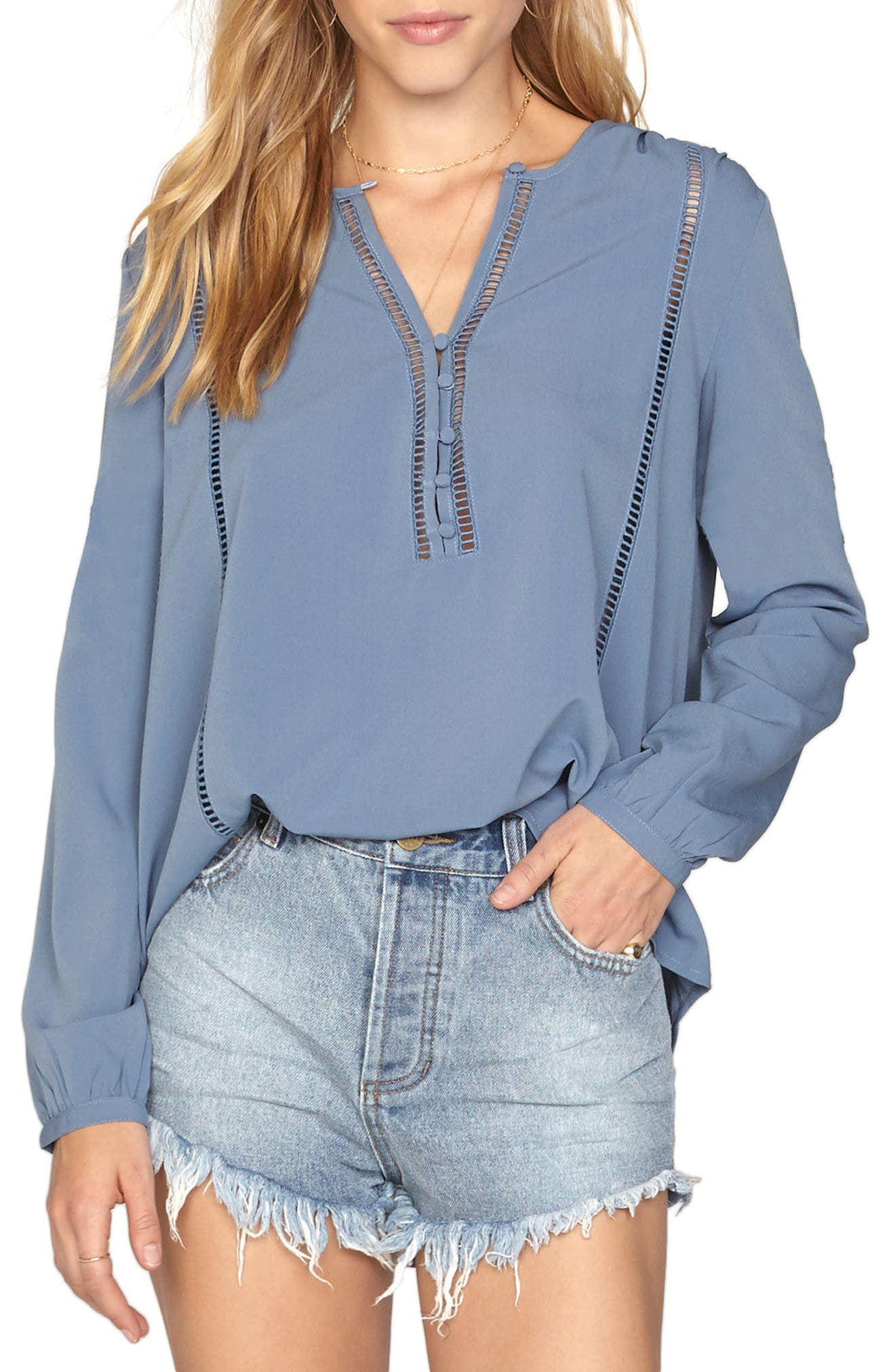 Pretty Young Thing Blouse,                             Main thumbnail 1, color,                             Riviera Blue