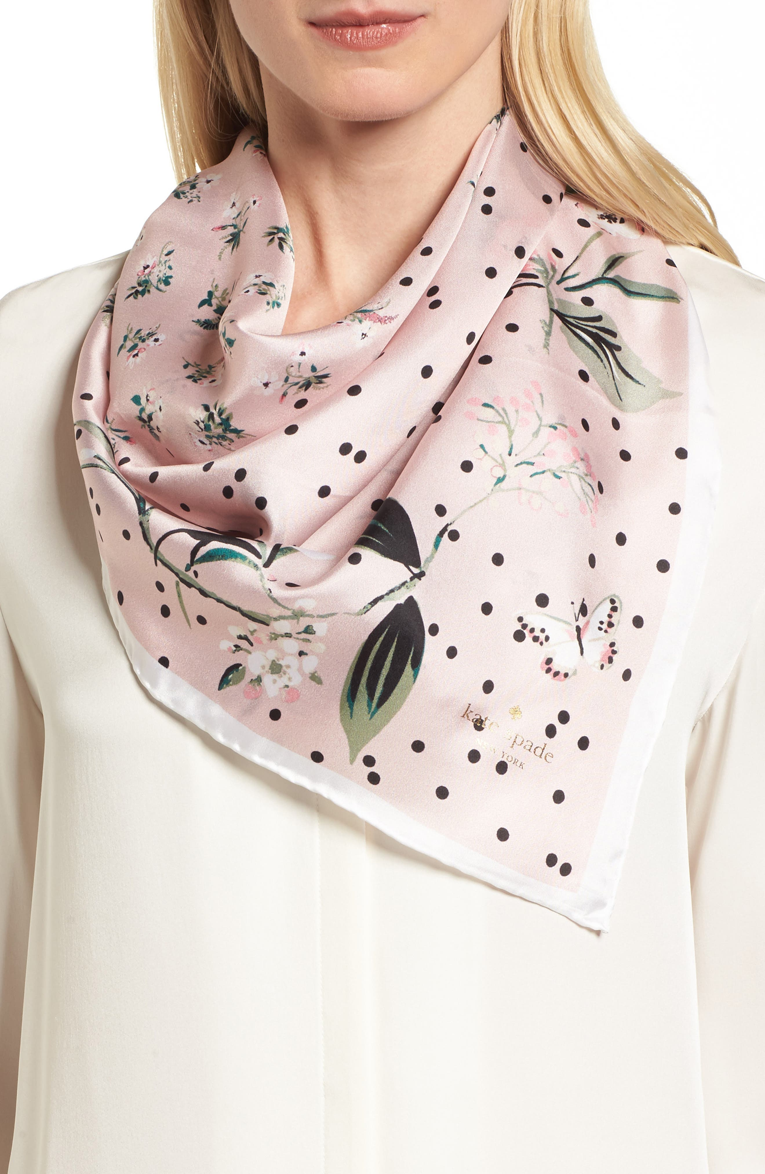 kate spade new york botanical patchwork square silk scarf