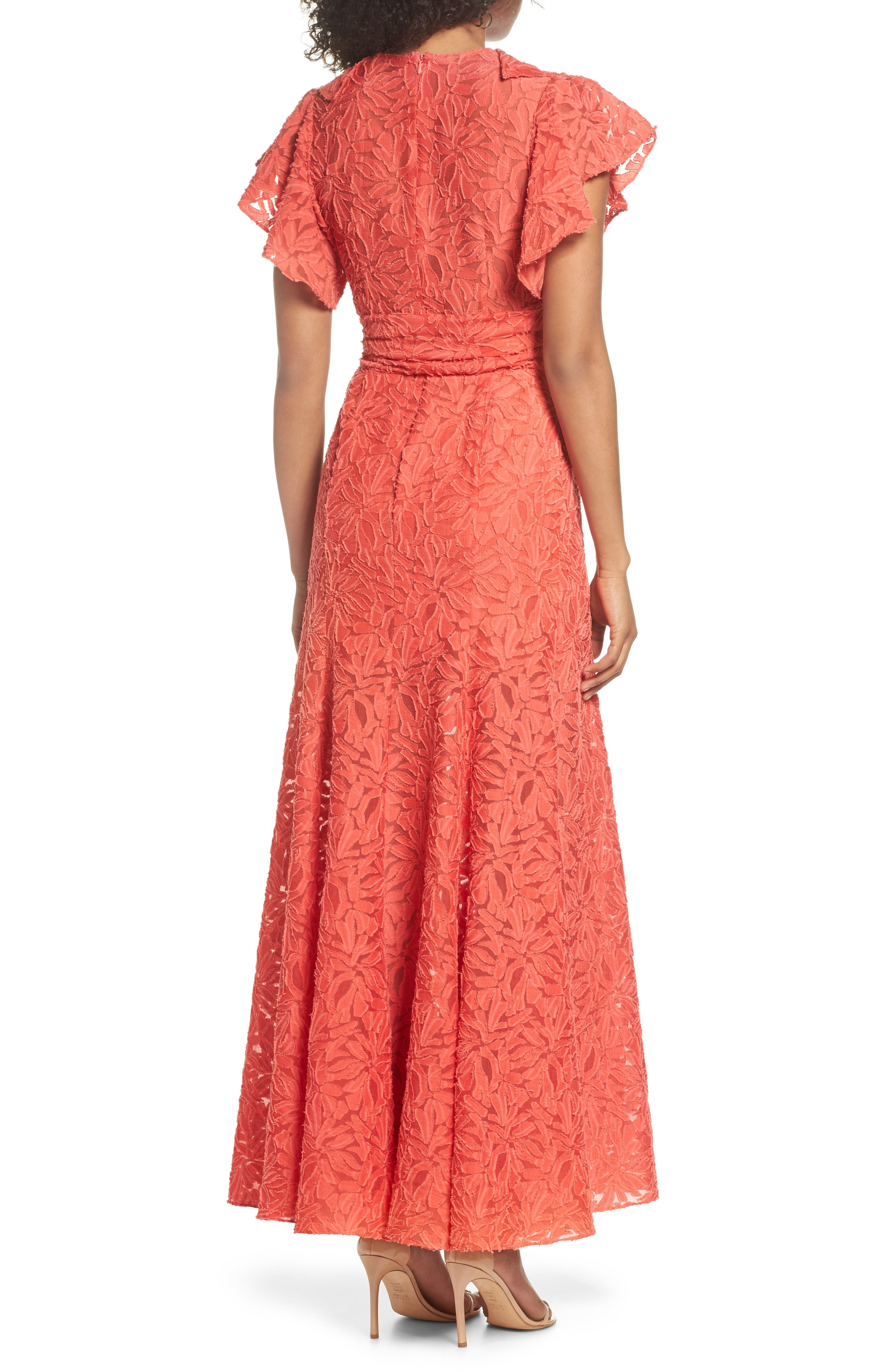 More To Give Ruffle Lace Gown,                             Alternate thumbnail 3, color,                             Melon