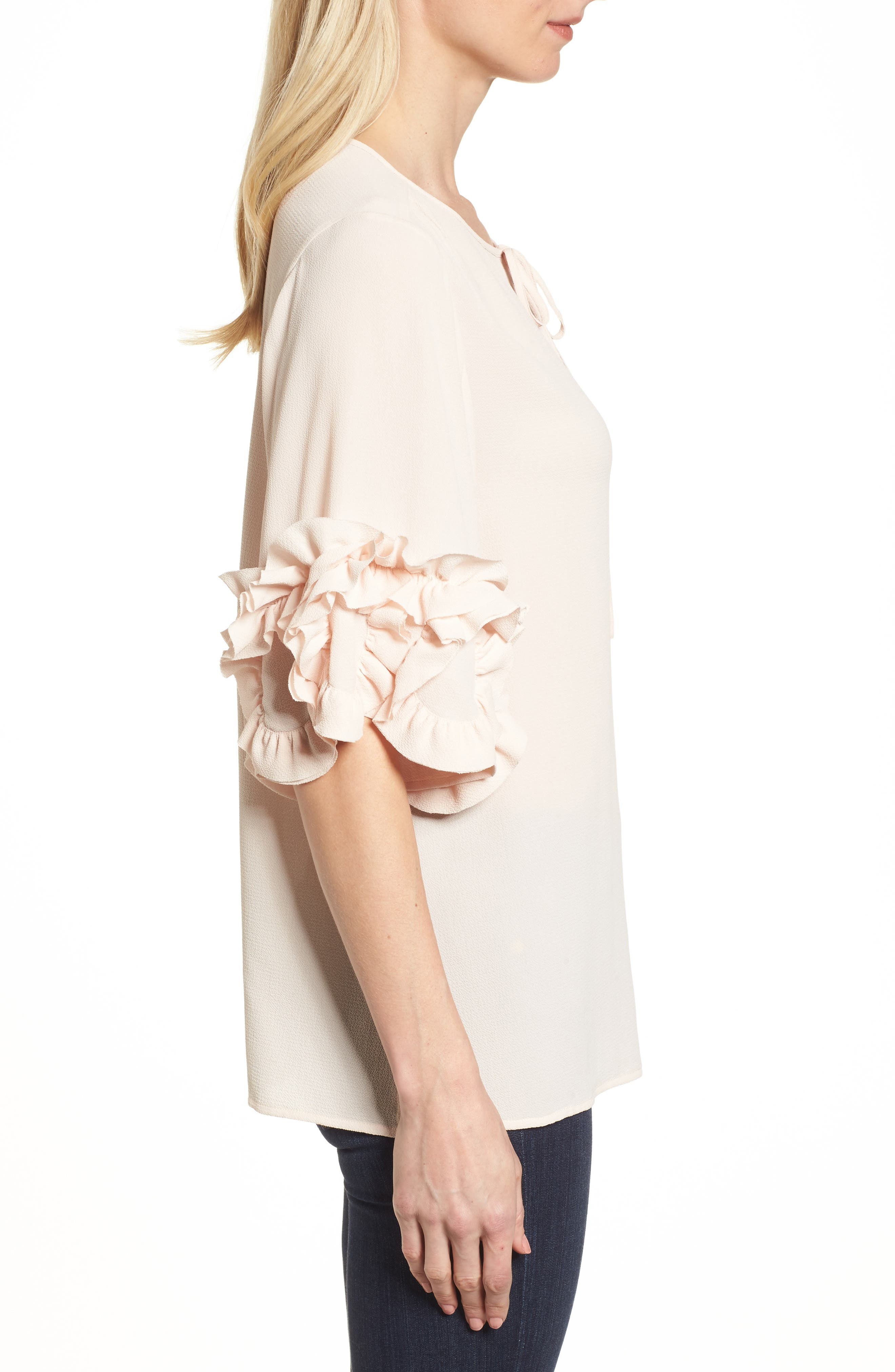 Ruffle Sleeve Tie Neck Blouse,                             Alternate thumbnail 3, color,                             Pink Mist