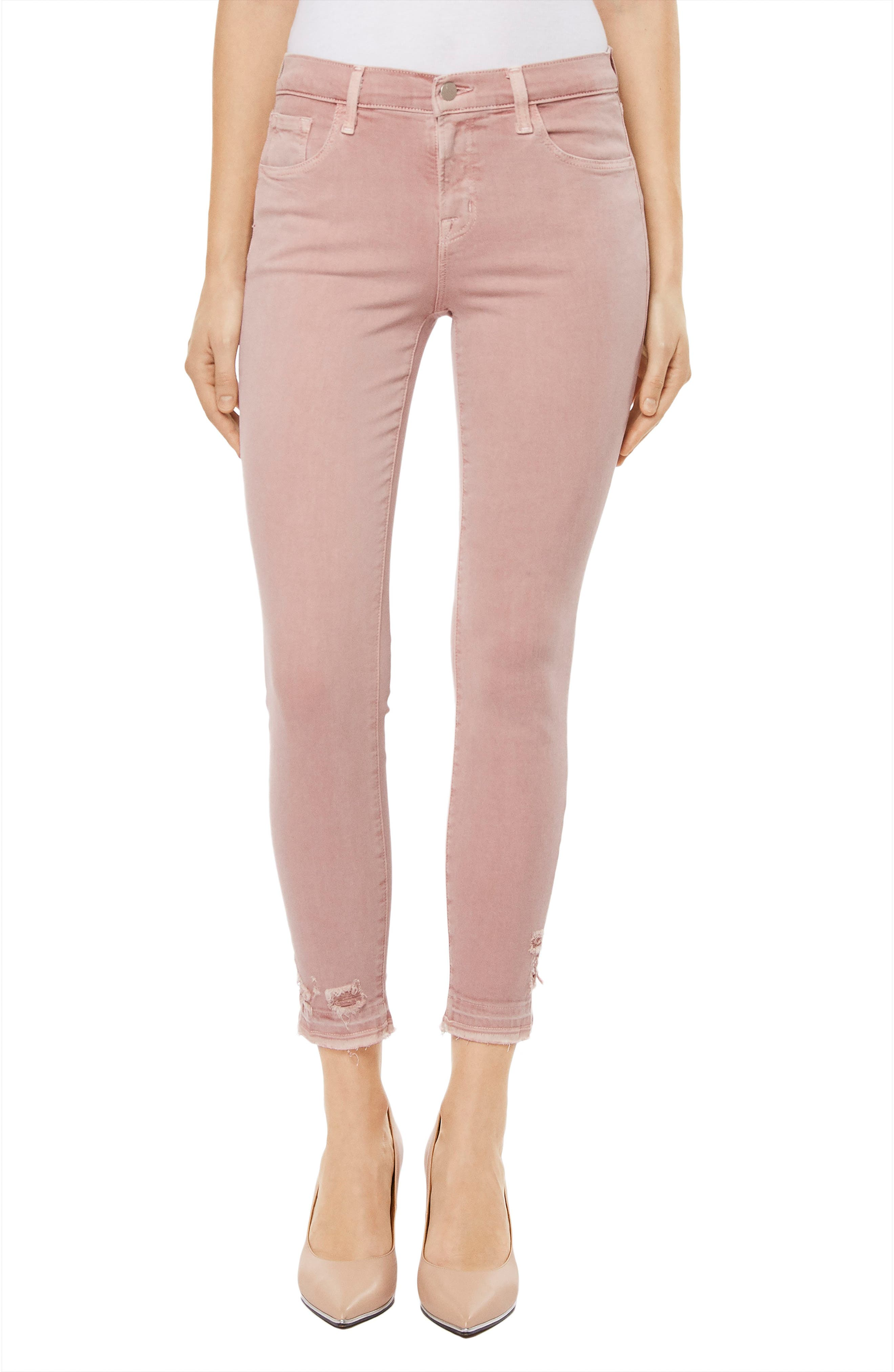 835 Capri Skinny Jeans,                         Main,                         color, Vinca Destruct
