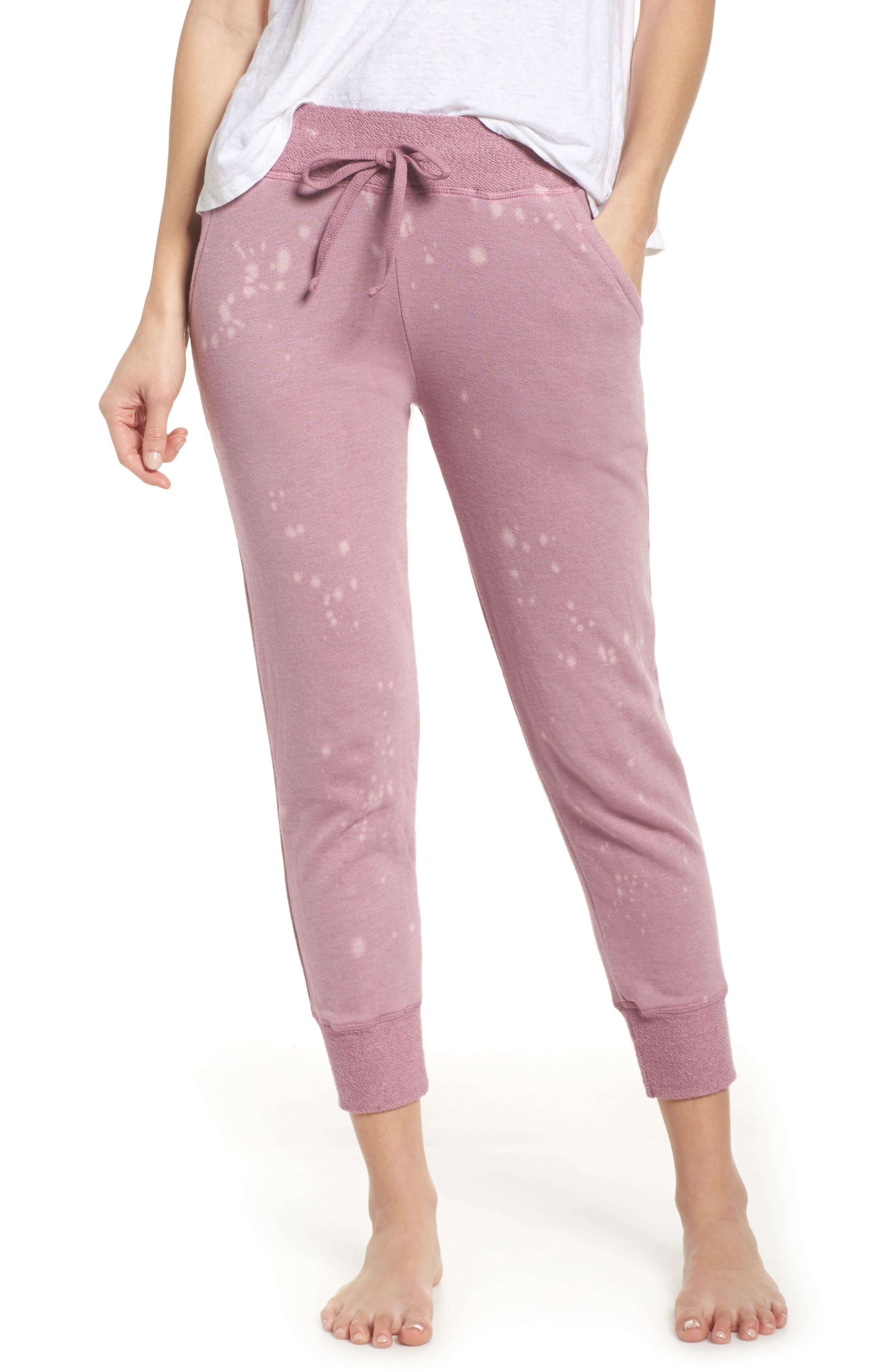 Bleach Spray Crop Sweatpants,                         Main,                         color, Dawn